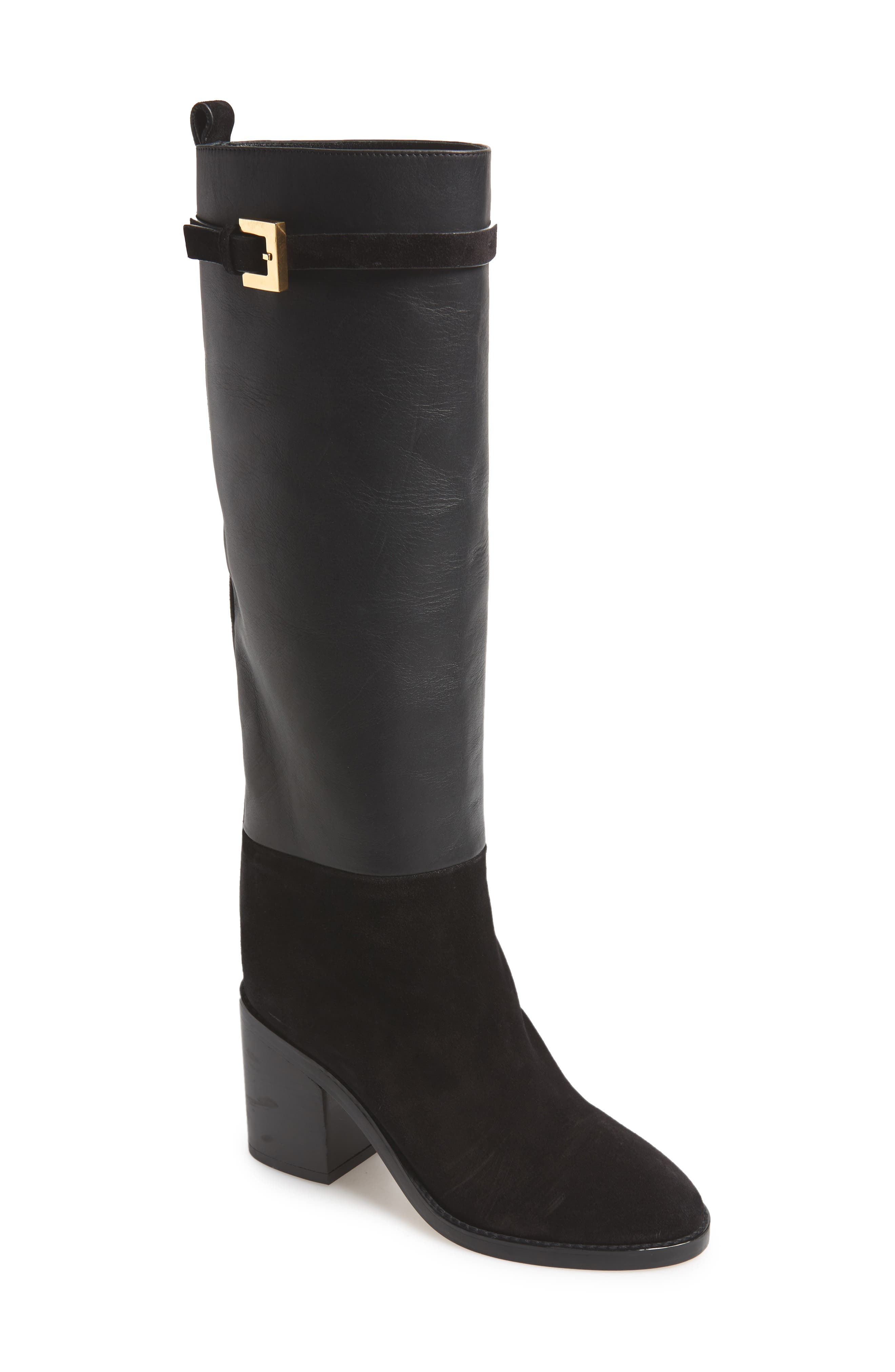 Morrison Chic Leather/Suede Knee Boot in Black Fez