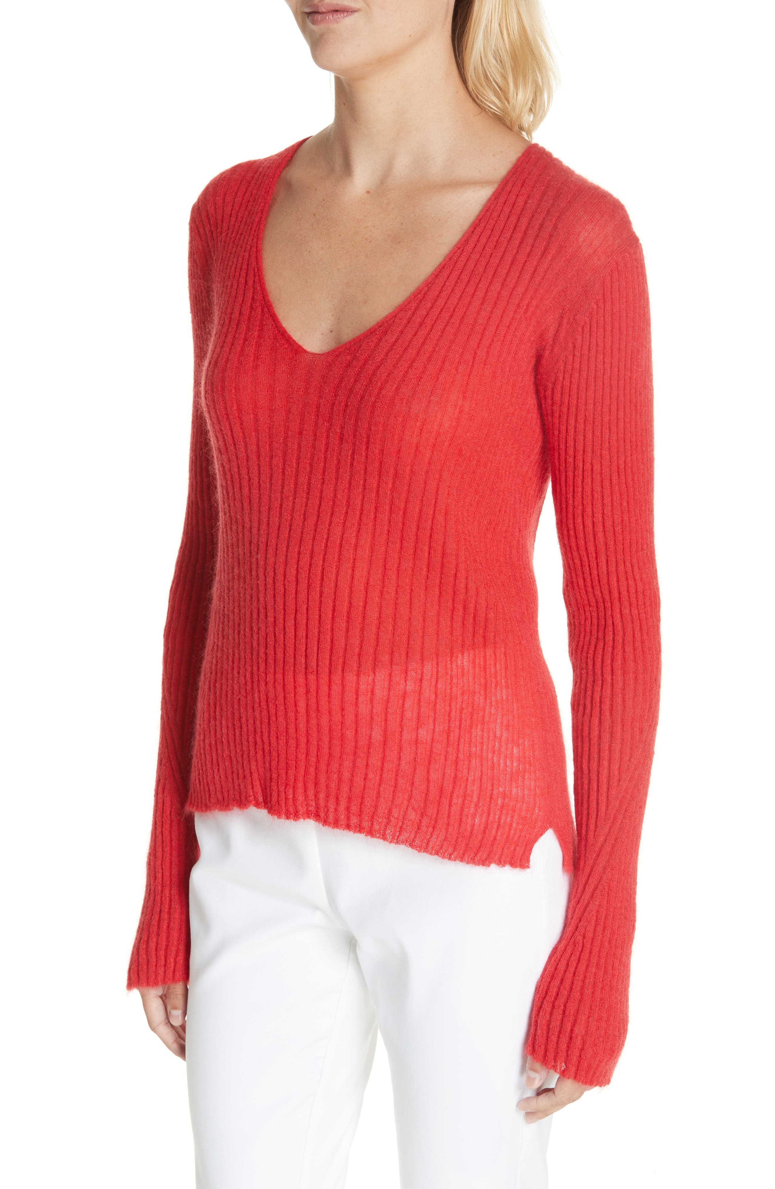 Donna Mohair & Wool Blend Sweater,                             Alternate thumbnail 4, color,                             RED