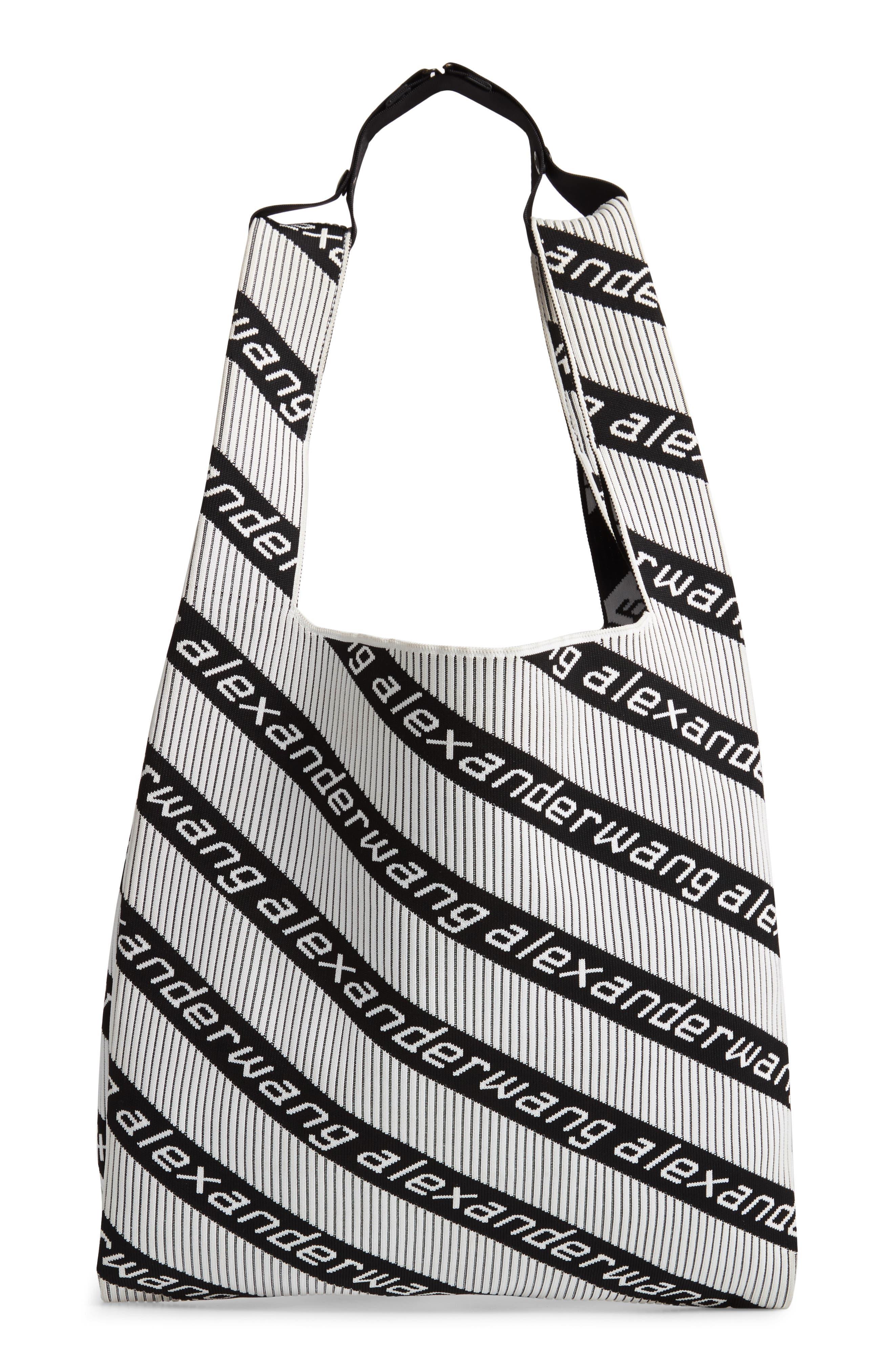Logo Knit Jacquard Shopper,                             Main thumbnail 1, color,                             BLACK/ WHITE
