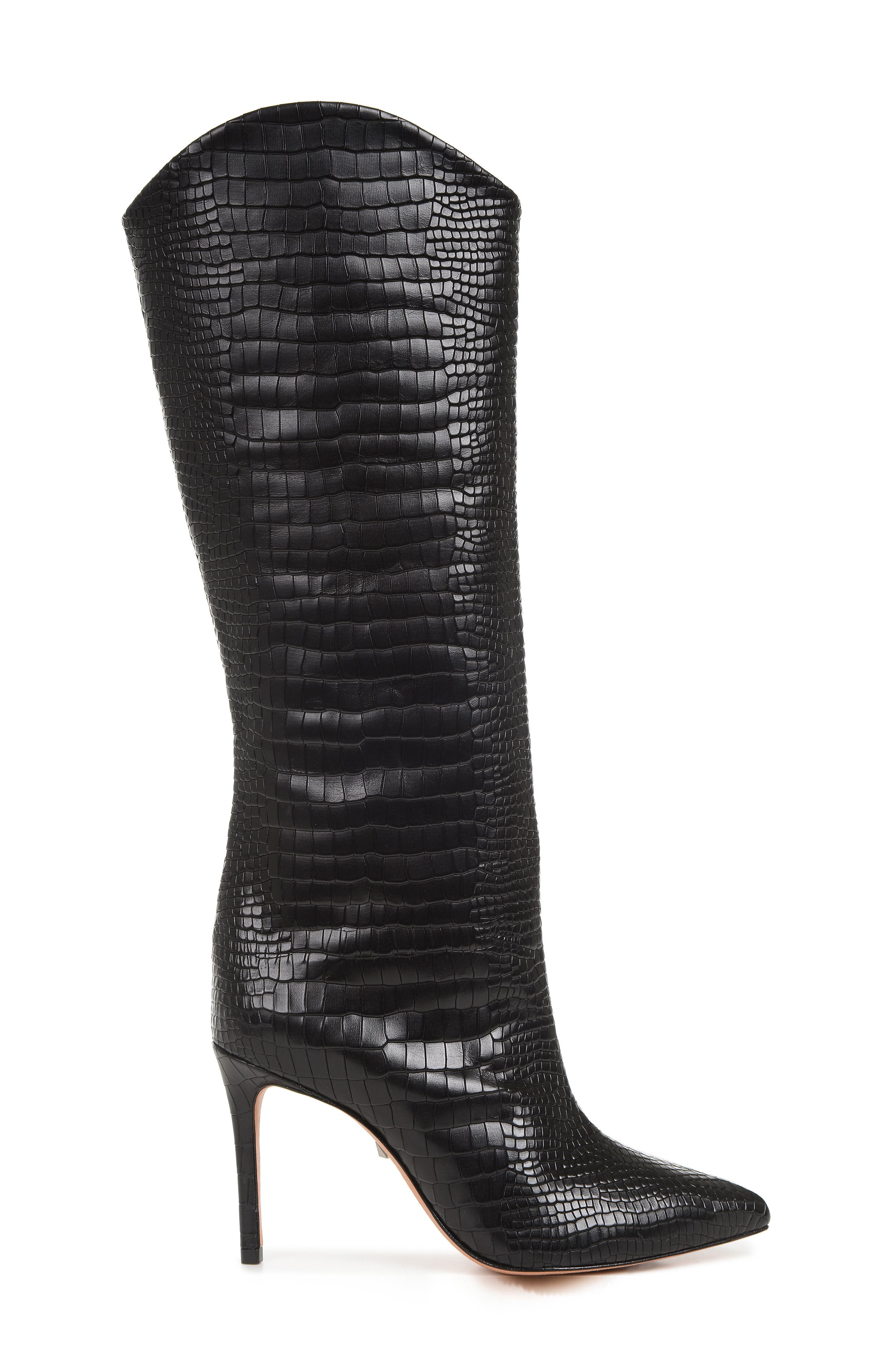 SCHUTZ,                             Maryana Pointy Toe Boot,                             Alternate thumbnail 3, color,                             BLACK LEATHER