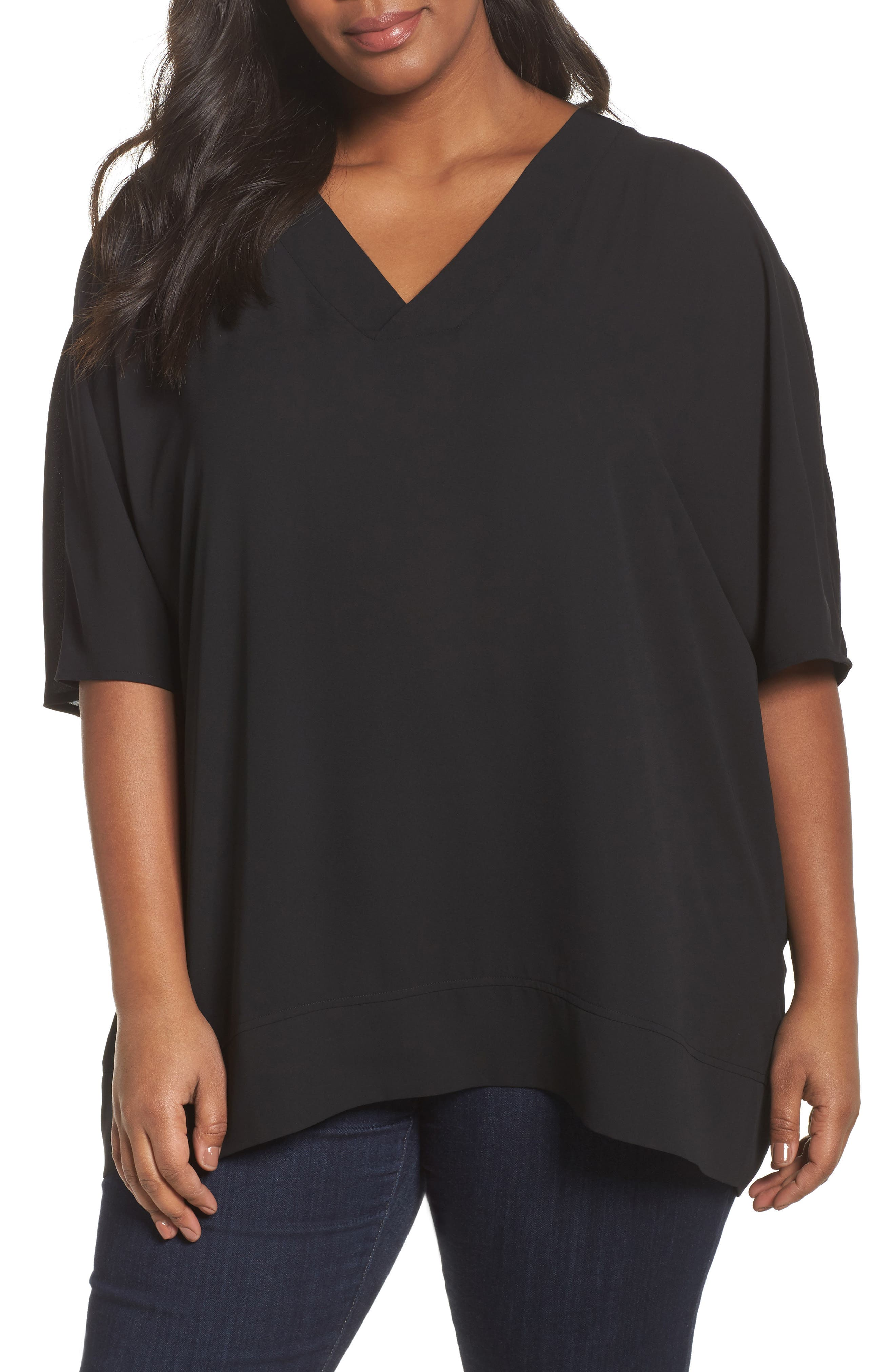 V-Neck Top,                             Main thumbnail 1, color,                             001