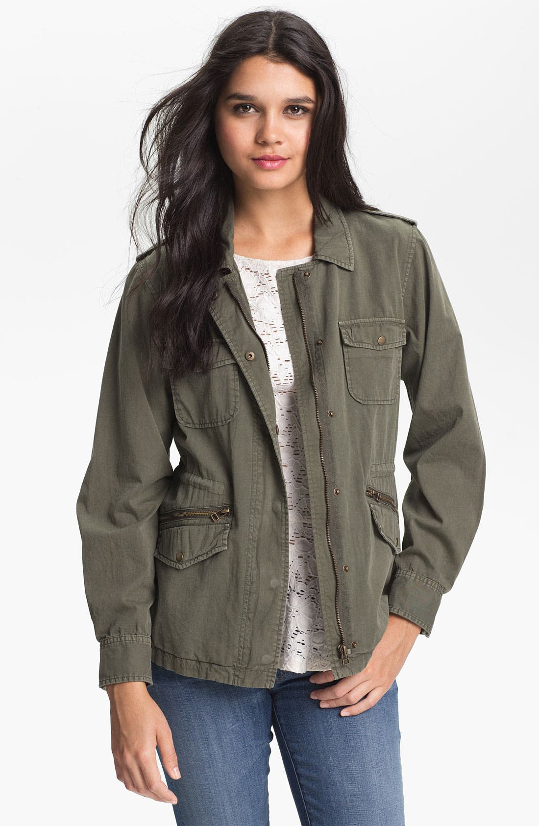 Lily Aldridge for Velvet by Graham & Spencer Army Jacket,                         Main,                         color, FOREST GREEN