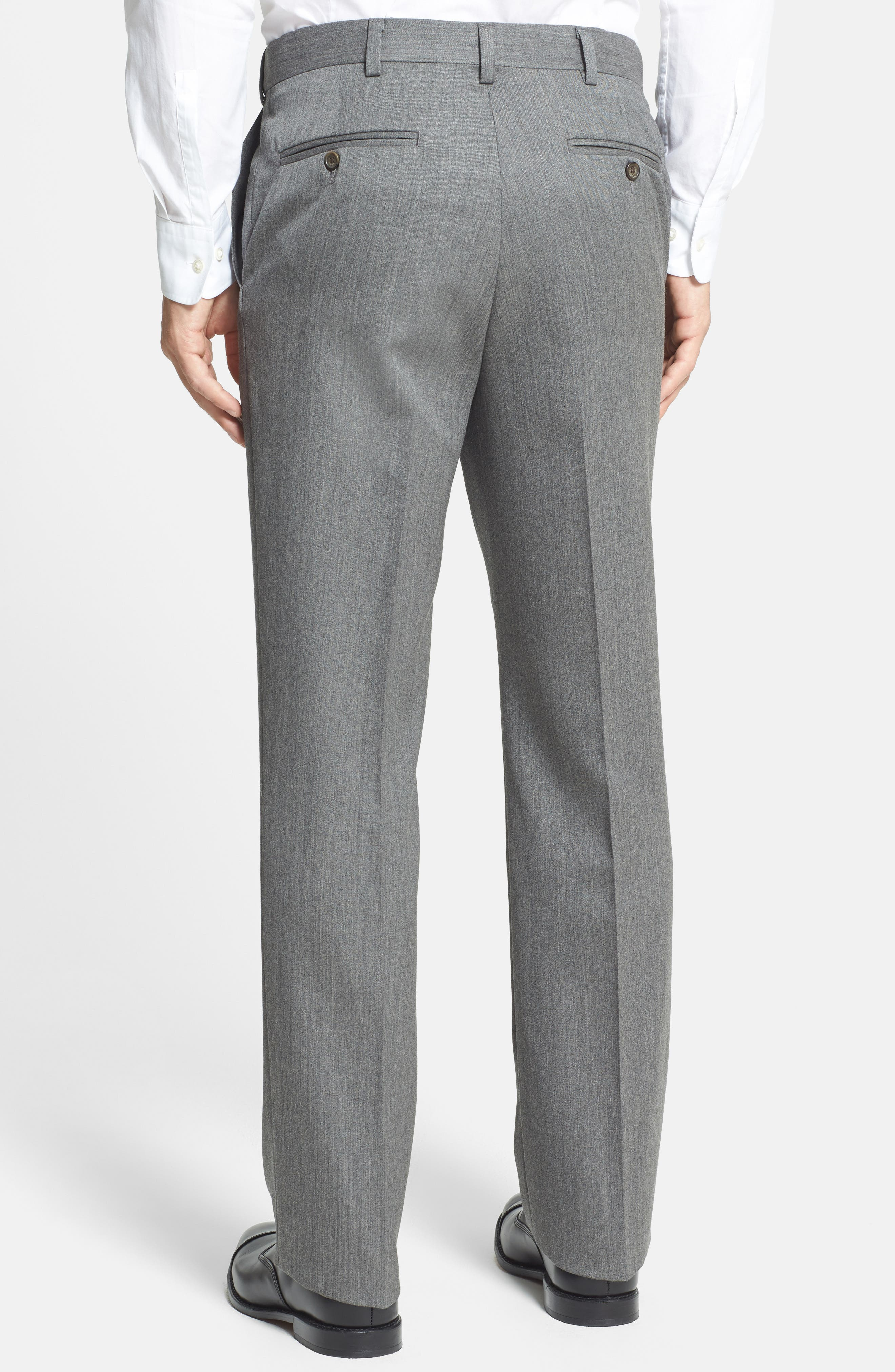 Self Sizer Waist Flat Front Wool Gabardine Trousers,                             Alternate thumbnail 5, color,                             MEDIUM GREY