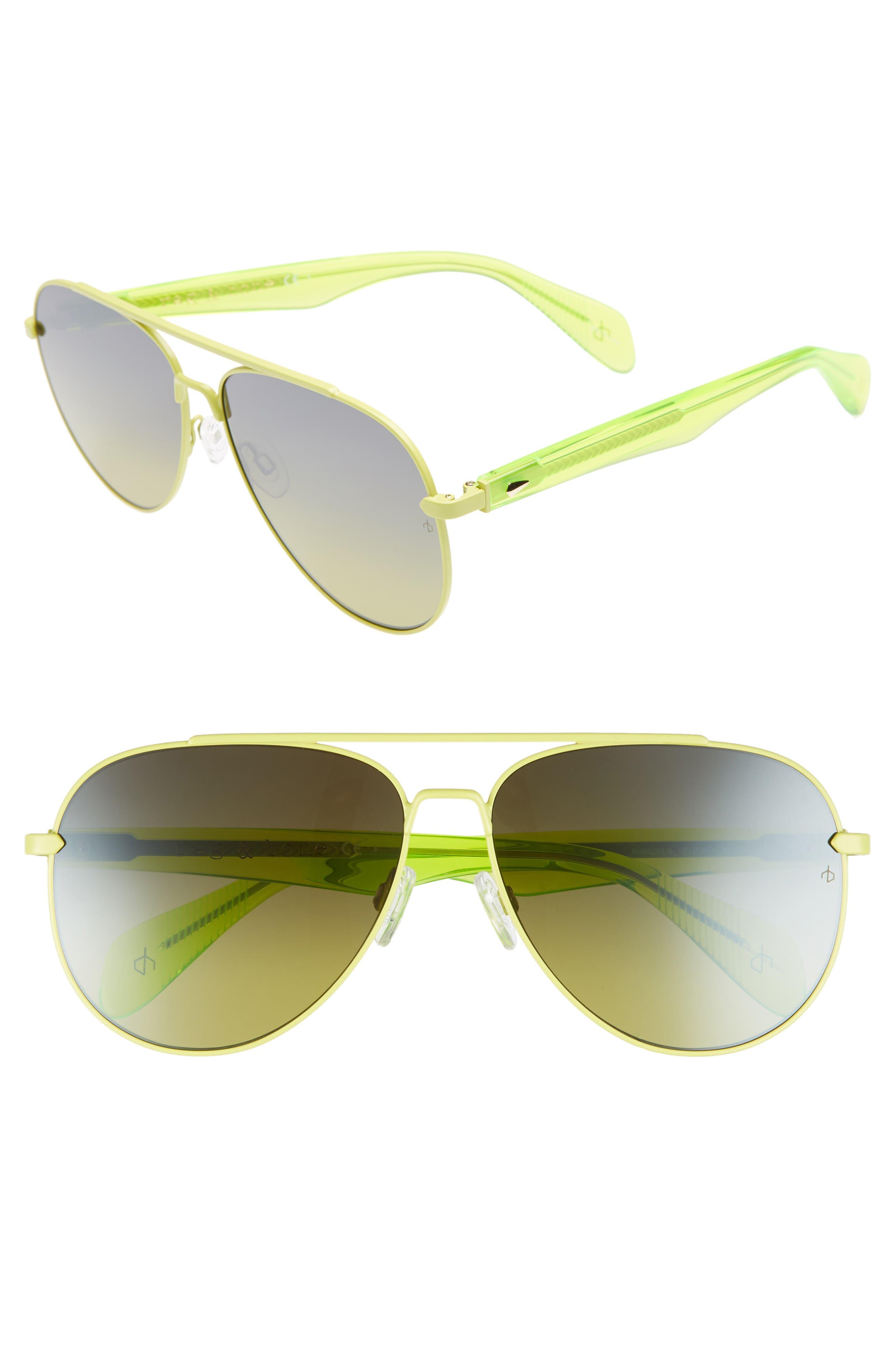 62mm Oversize Aviator Sunglasses,                         Main,                         color, MATTE GREEN