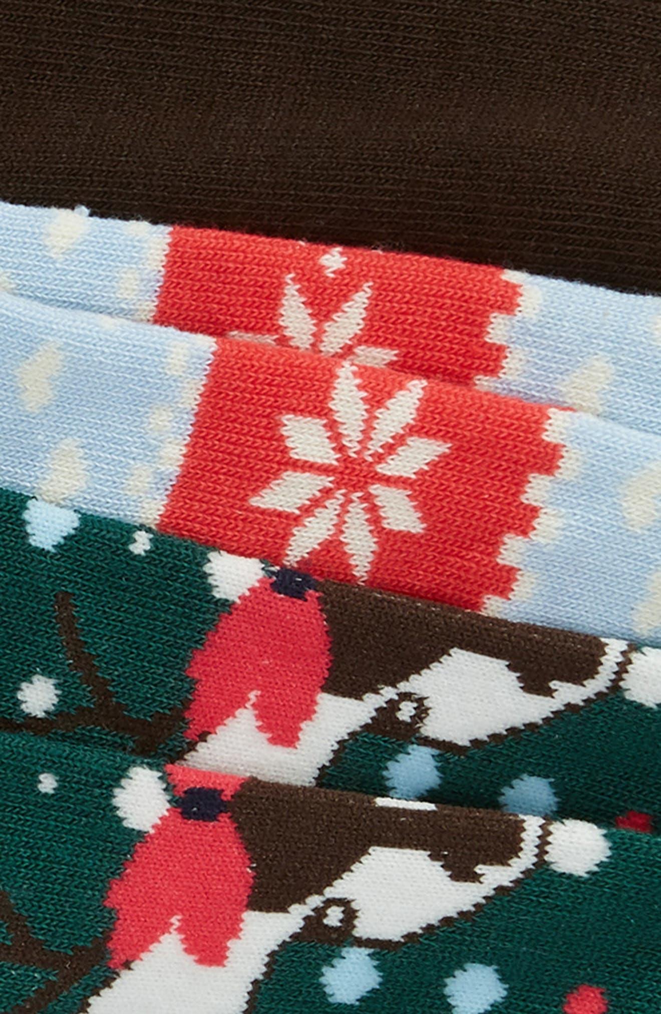 3-Pack Ankle Socks,                             Alternate thumbnail 2, color,                             BROWN JAVA MULTI