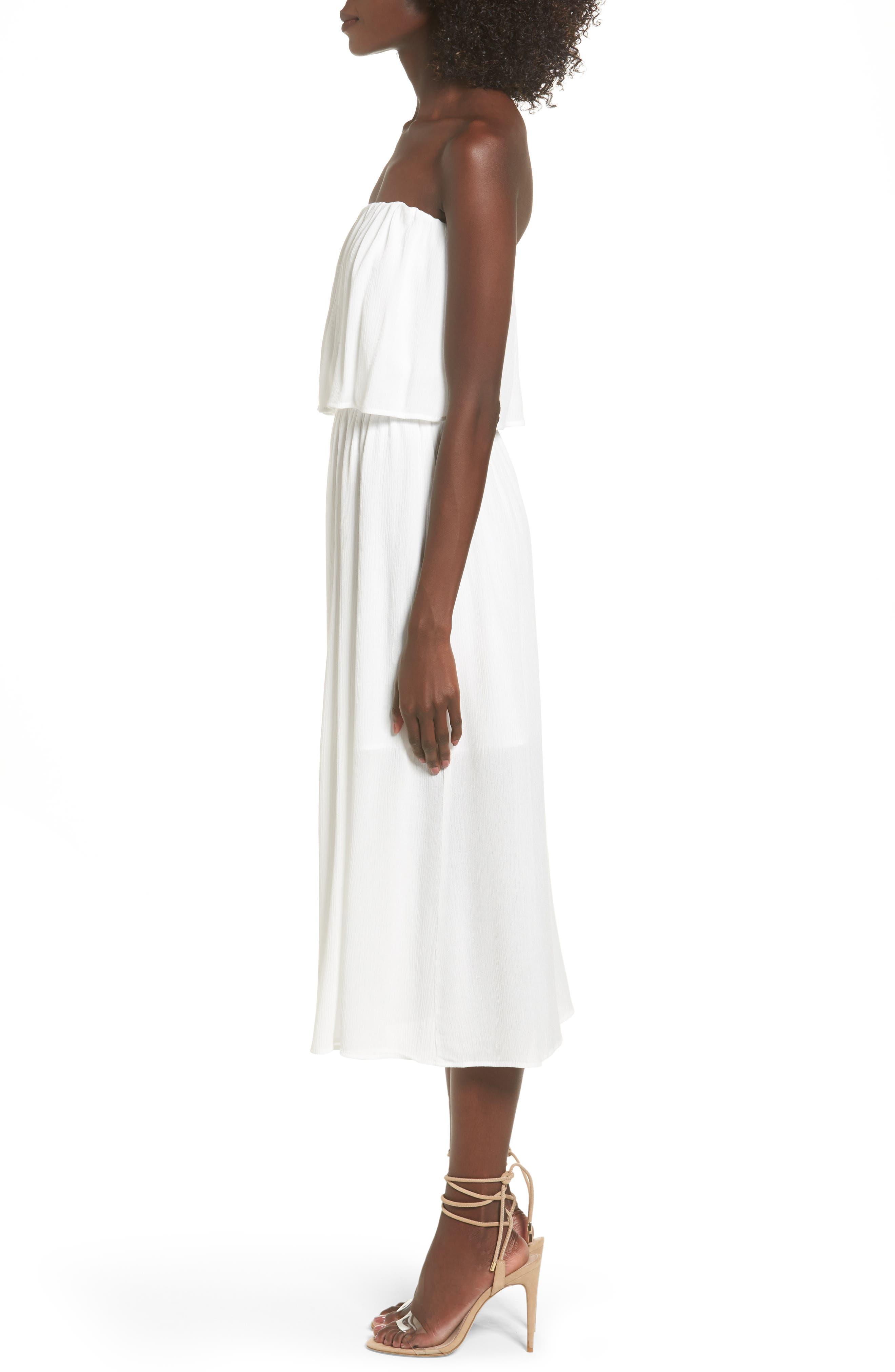 Kizzie Strapless Midi Dress,                             Alternate thumbnail 3, color,