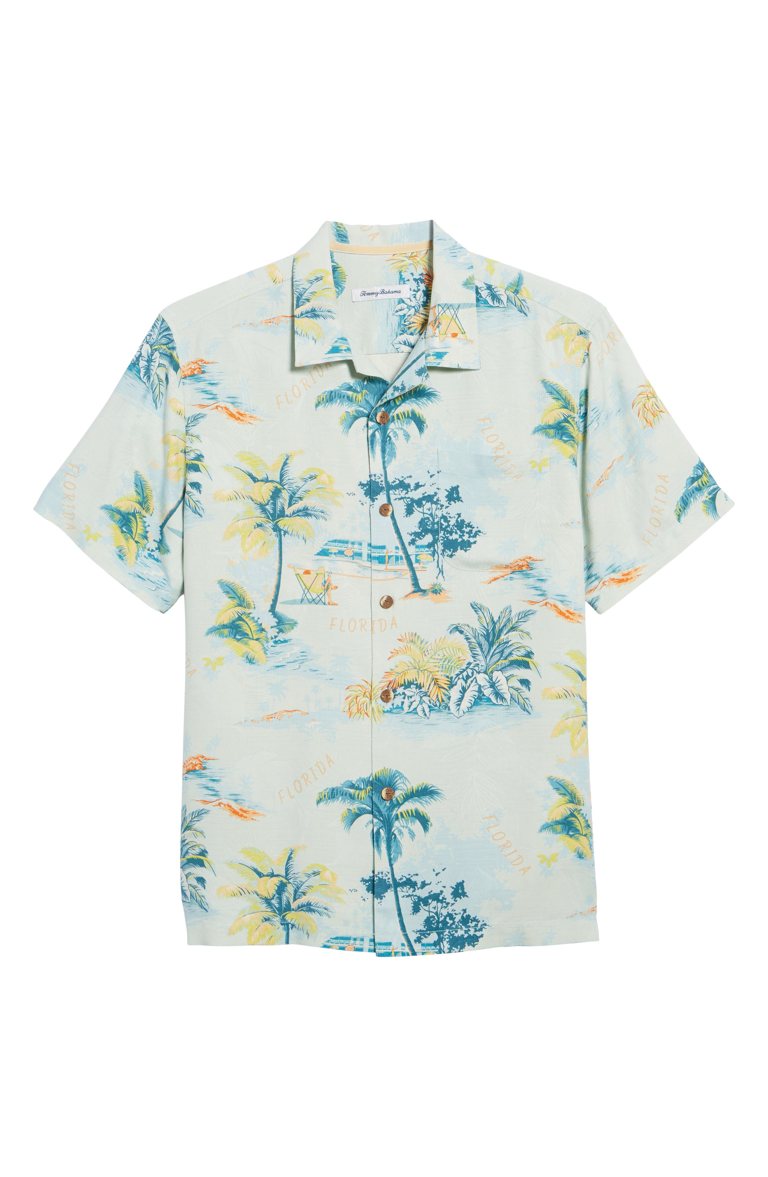 Florida Palms Regular Fit Silk Camp Shirt,                             Alternate thumbnail 6, color,                             400