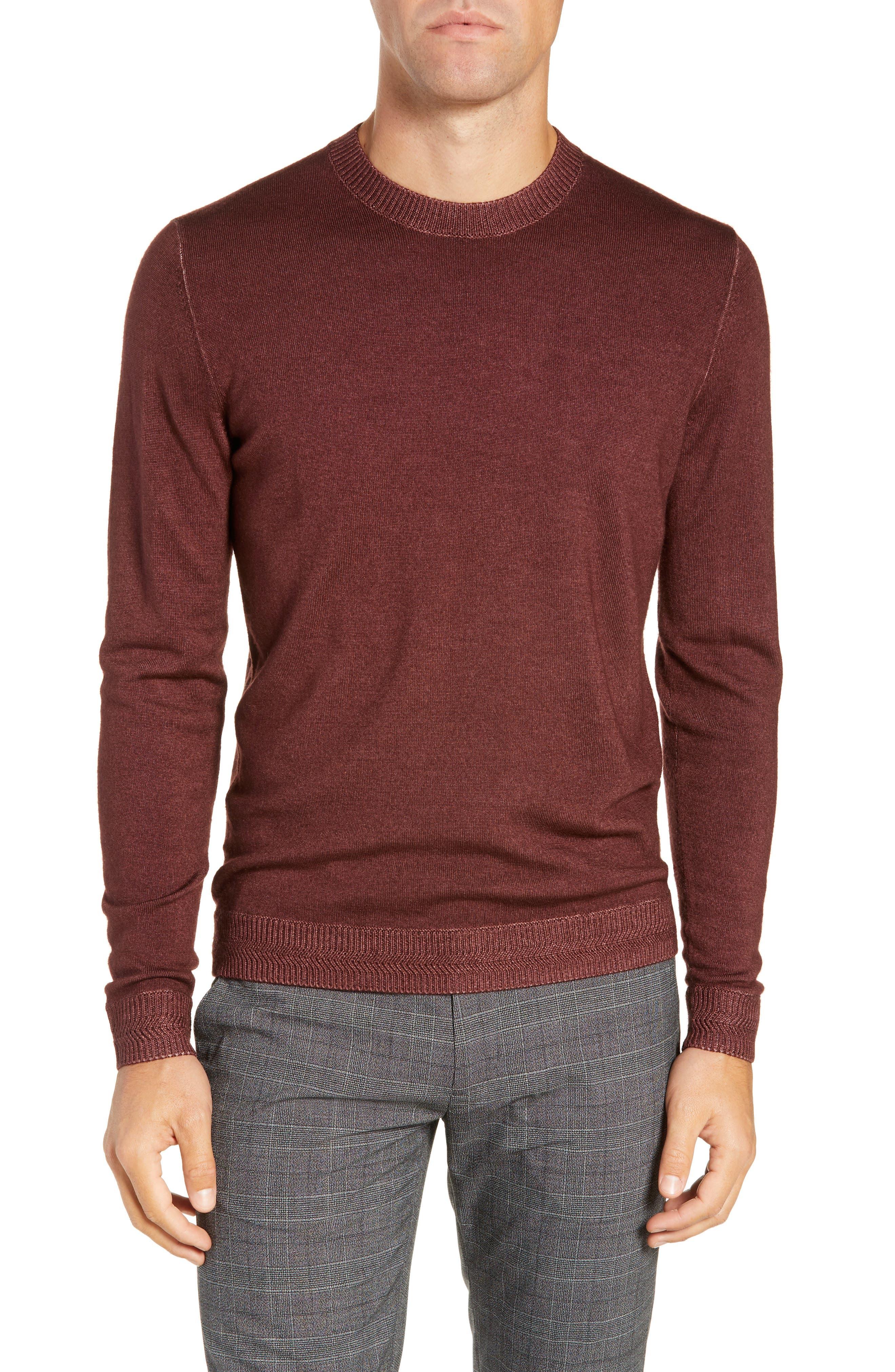 Trim Fit Newab Garment Dyed Wool Sweater,                         Main,                         color, MAROON