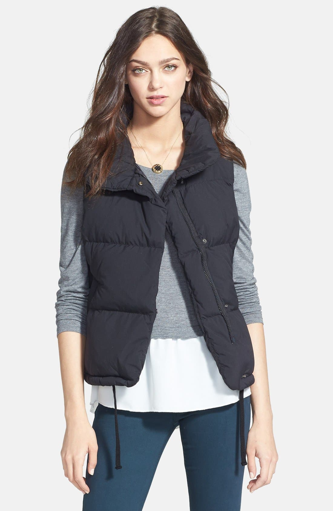 JAMES PERSE Funnel Neck Down Vest, Main, color, 001