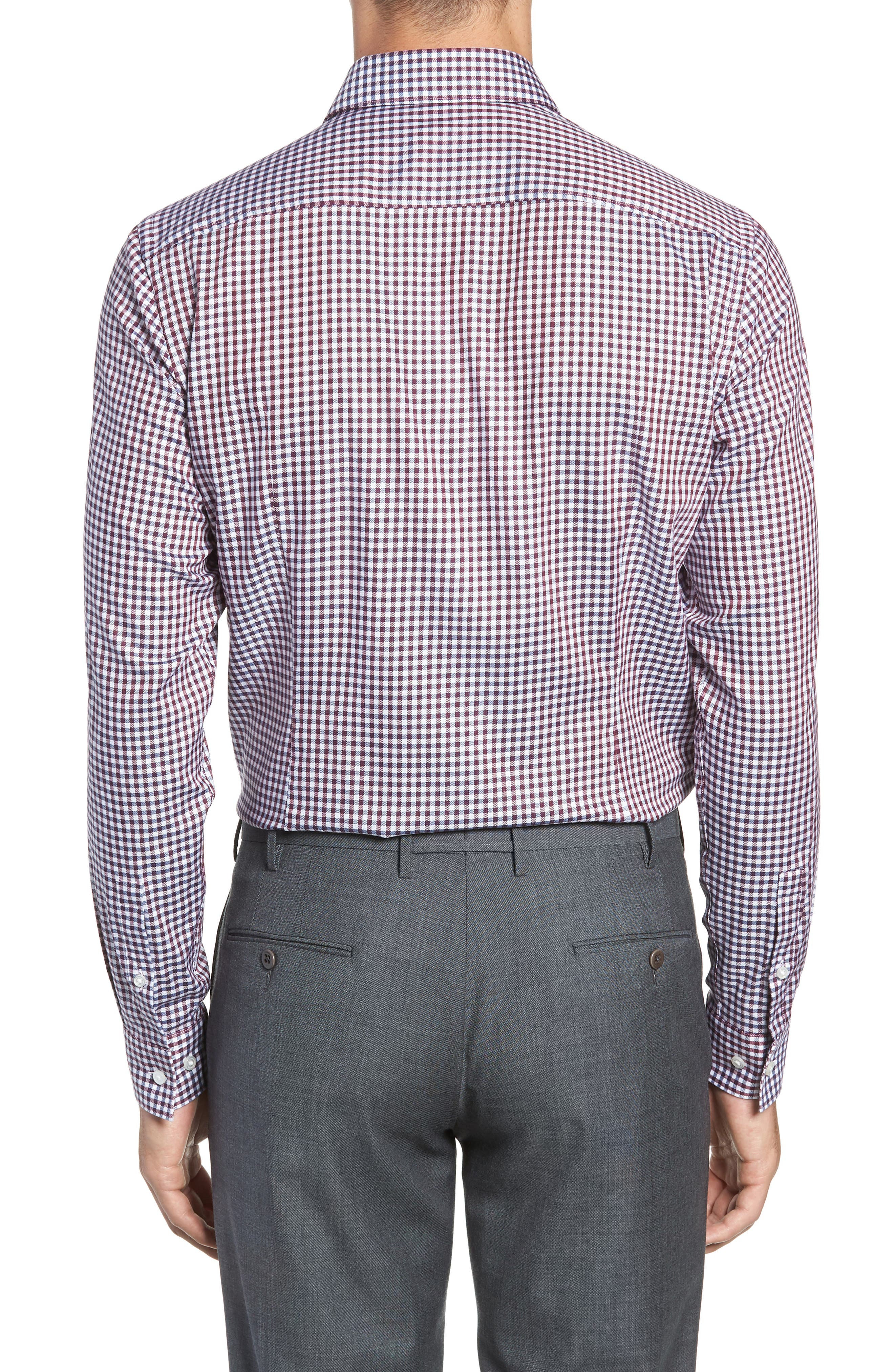 x Nordstrom Isaac Slim Fit Check Dress Shirt,                             Alternate thumbnail 3, color,                             RED