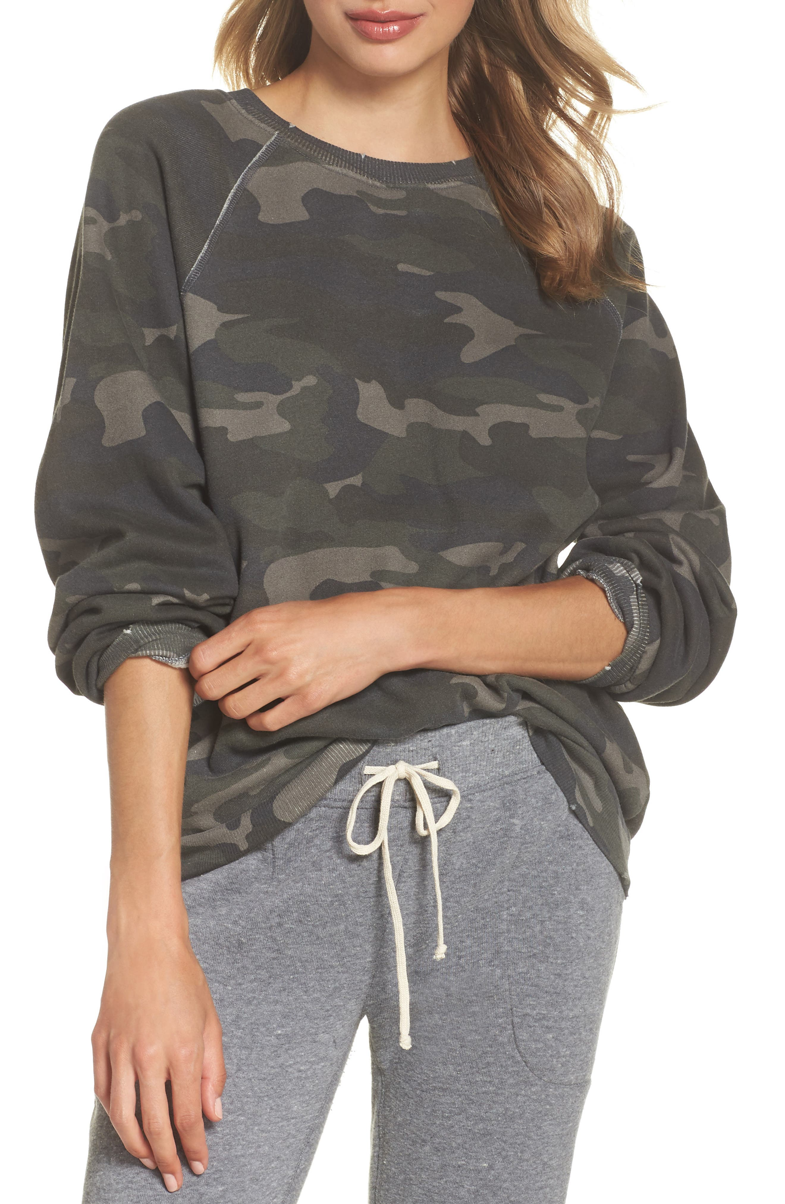 Camo Oversize Sweatshirt,                             Main thumbnail 1, color,                             CAMO