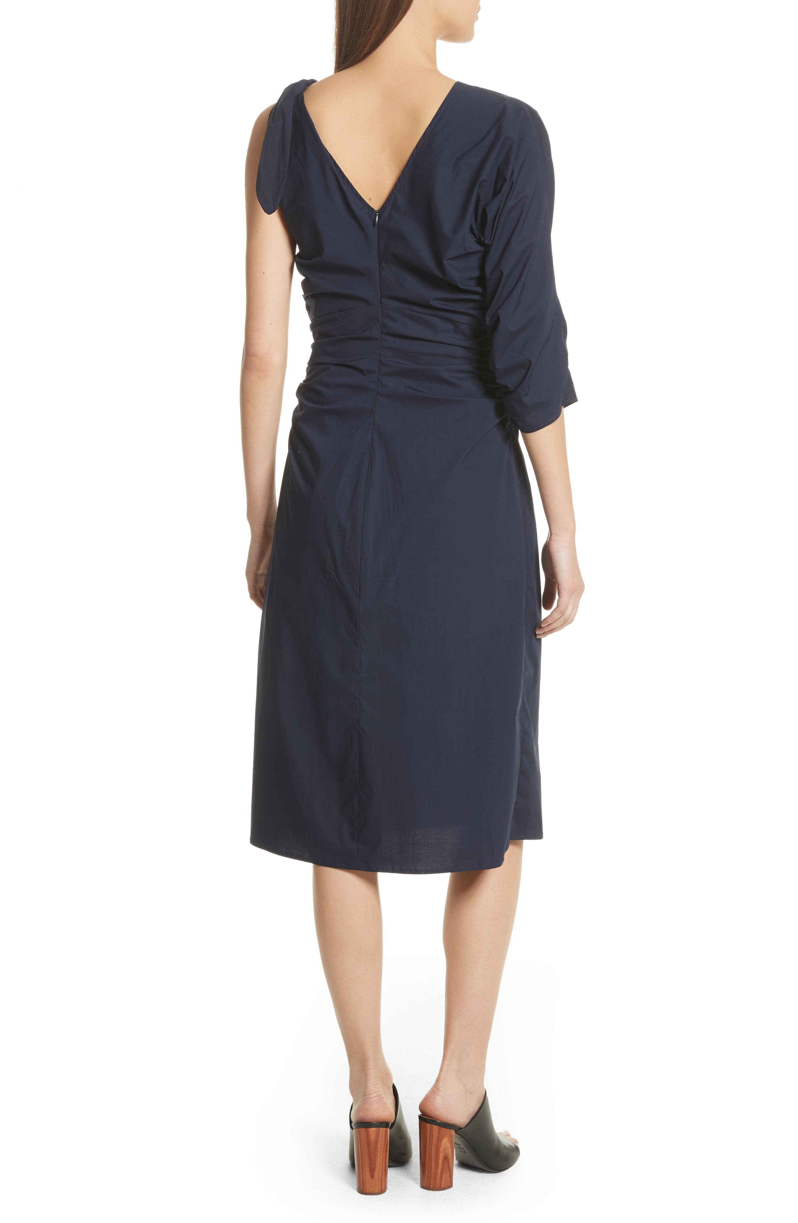 Clota Ruched One-Shoulder Poplin Dress,                             Alternate thumbnail 2, color,                             400