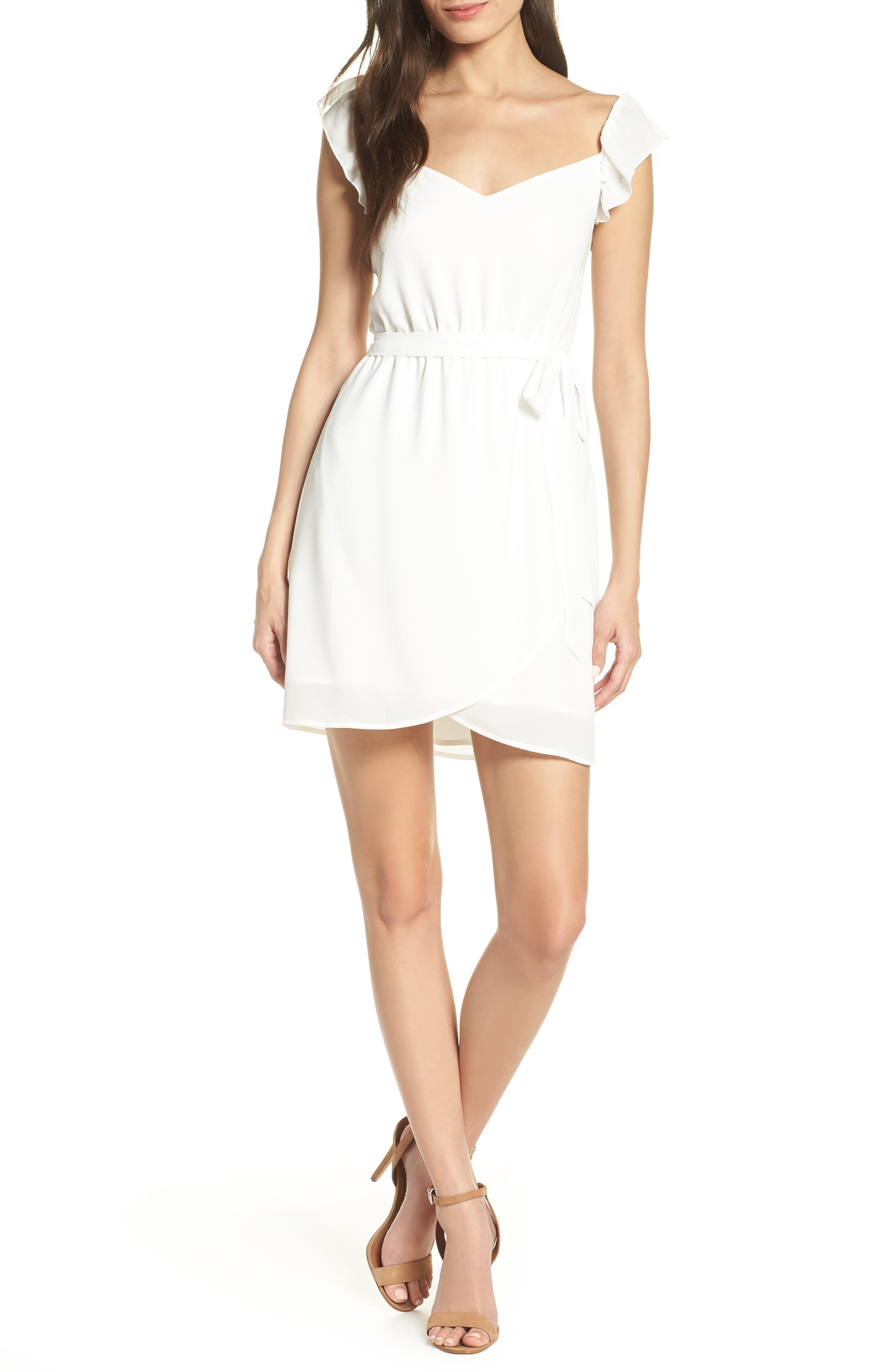 Ali & Jay Got Potential Faux Wrap Minidress, White