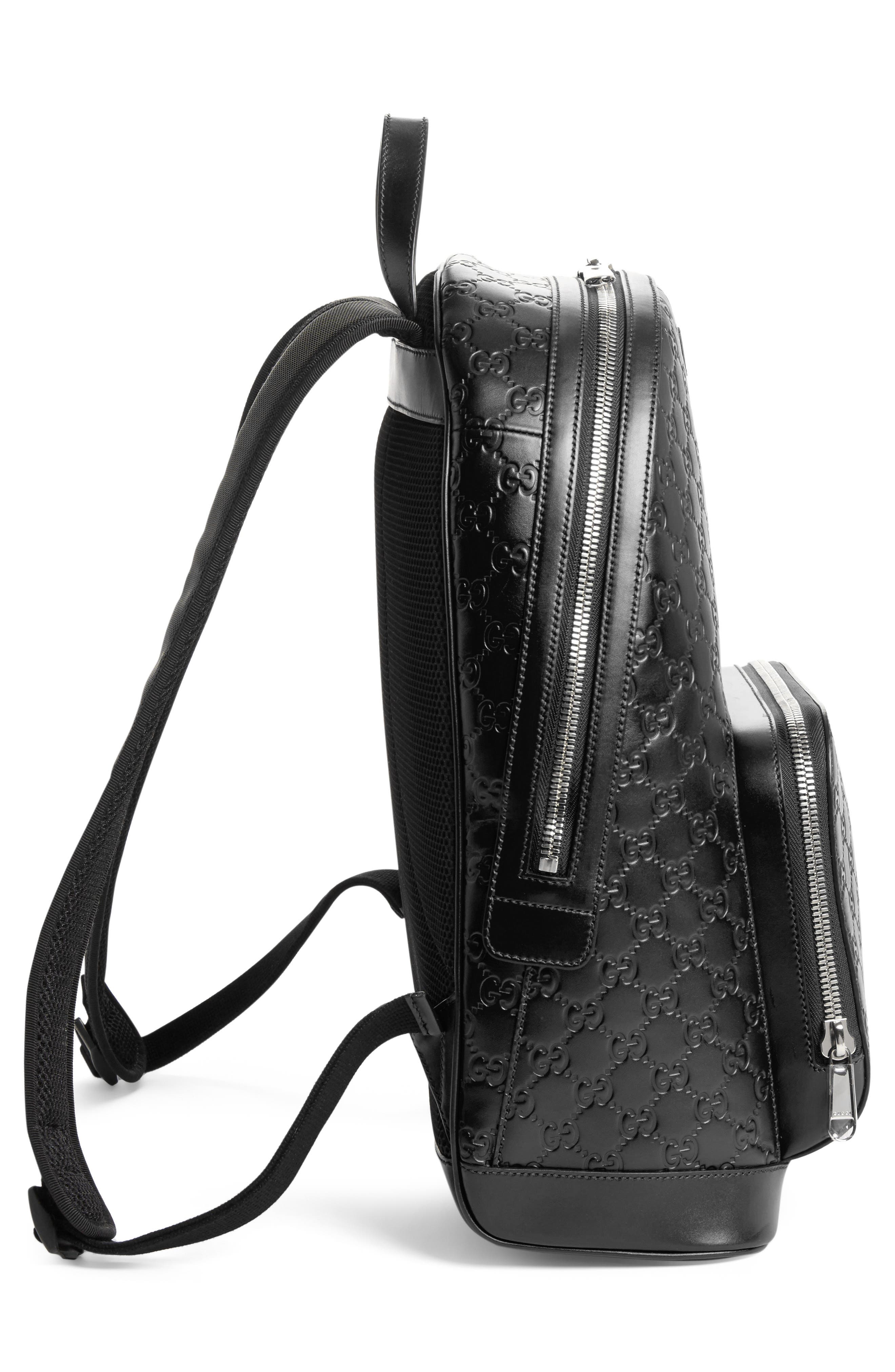 Embossed Leather Backpack,                             Alternate thumbnail 4, color,                             BLACK