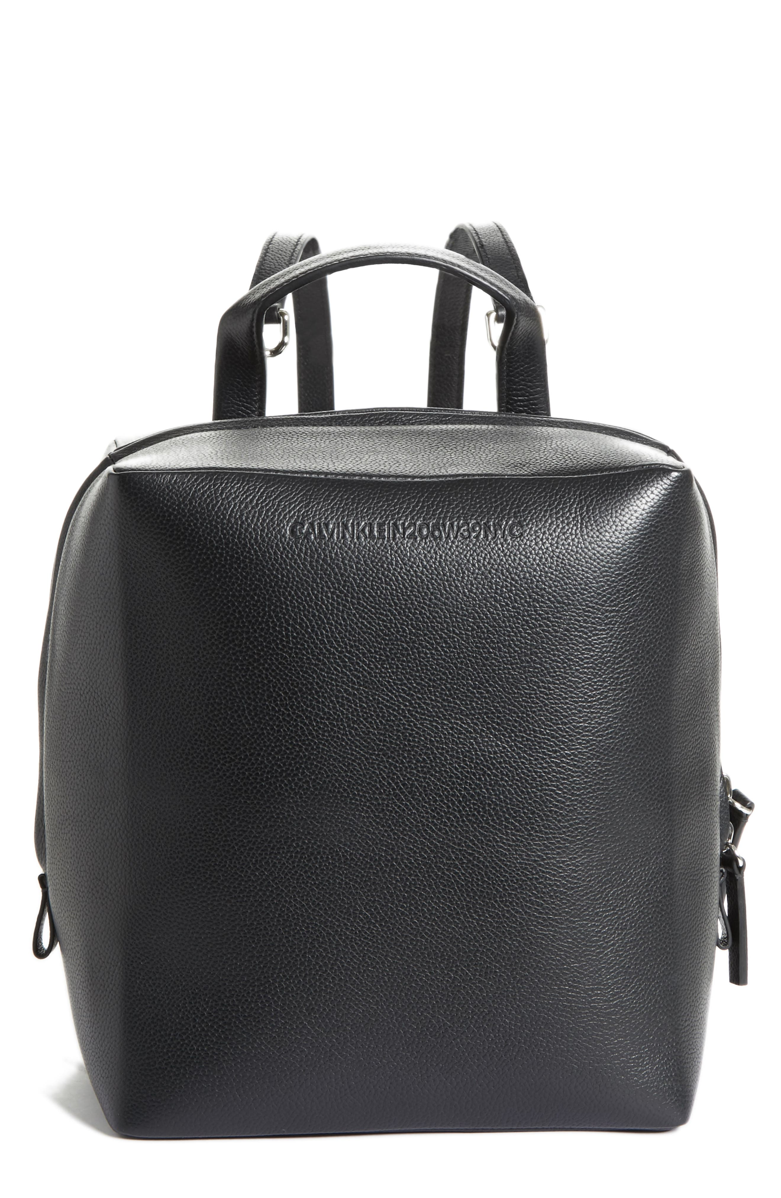 Cube Leather Backpack,                             Main thumbnail 1, color,                             001