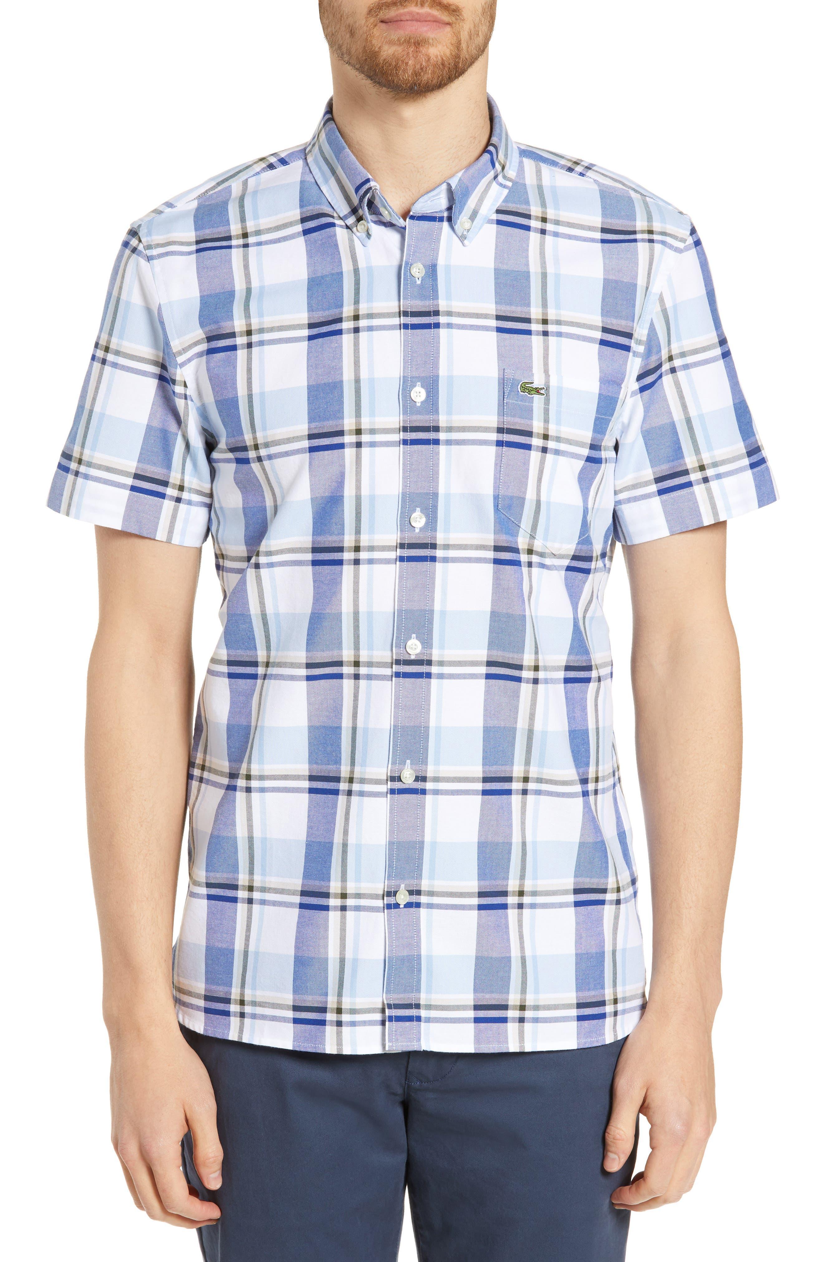 Lacoste Regular Fit Plaid Sport Shirt, Blue
