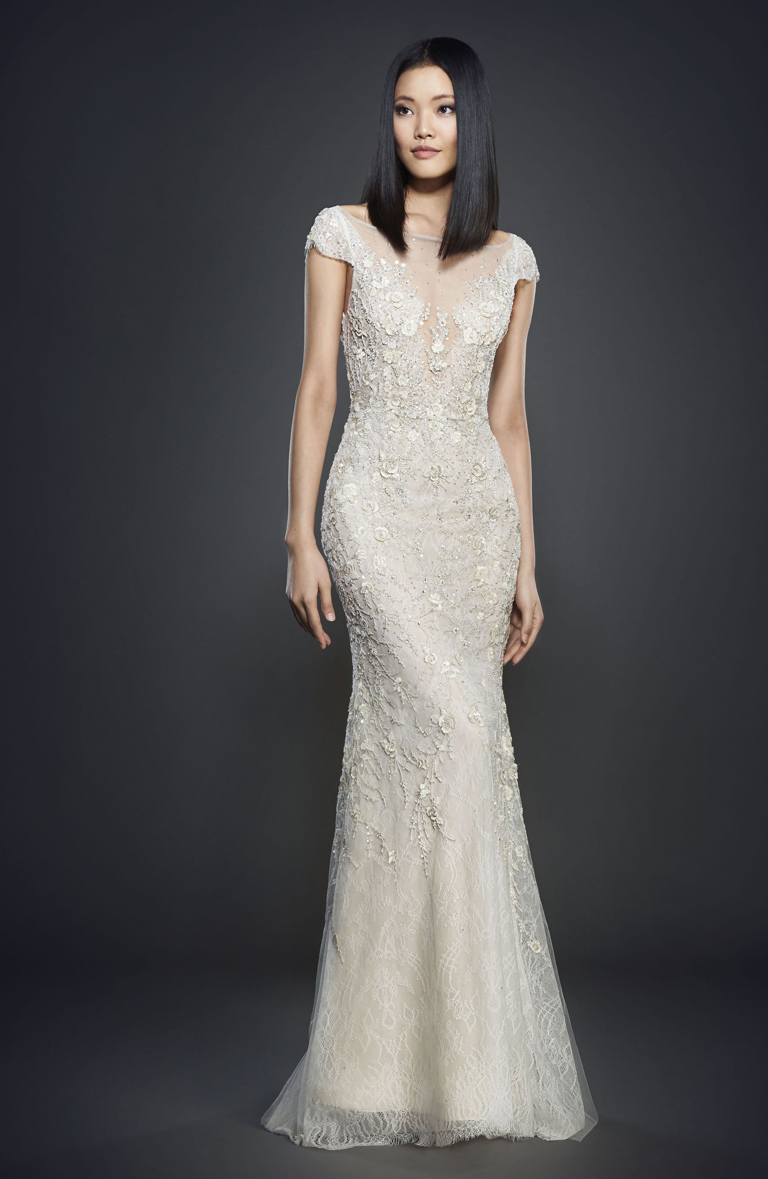 Embellished Lace Cap Sleeve Gown,                             Main thumbnail 1, color,