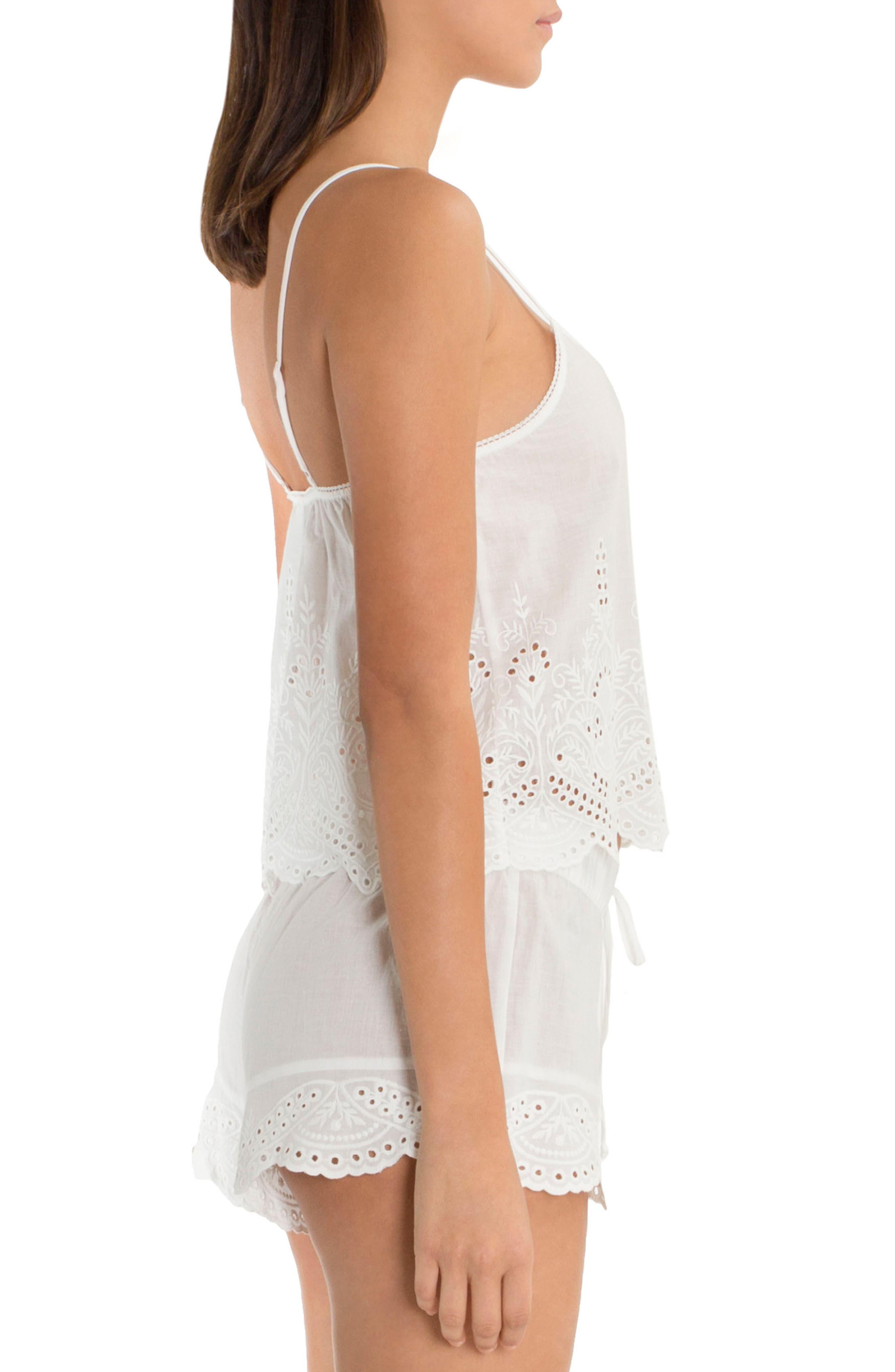 Eyelet Cotton Short Pajamas,                             Alternate thumbnail 3, color,                             900