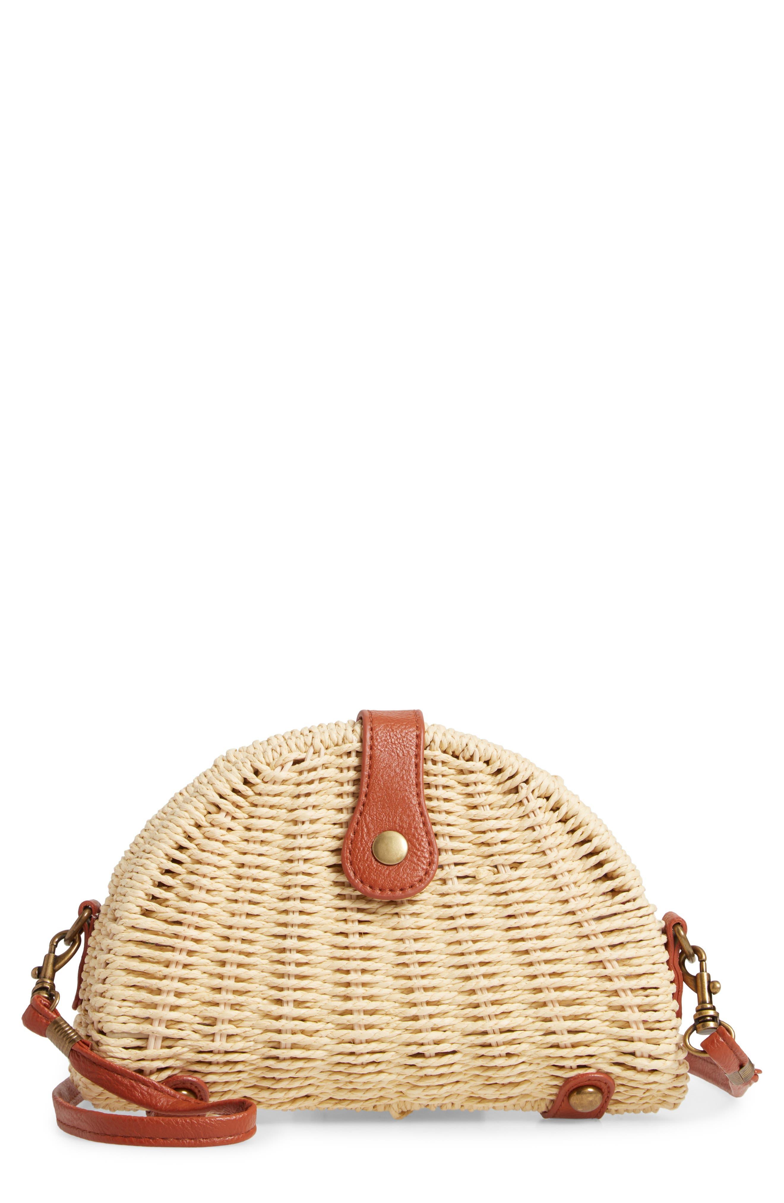 LA DOUBLE 7 Faux Leather Trim Straw Crossbody Bag, Main, color, NATURAL