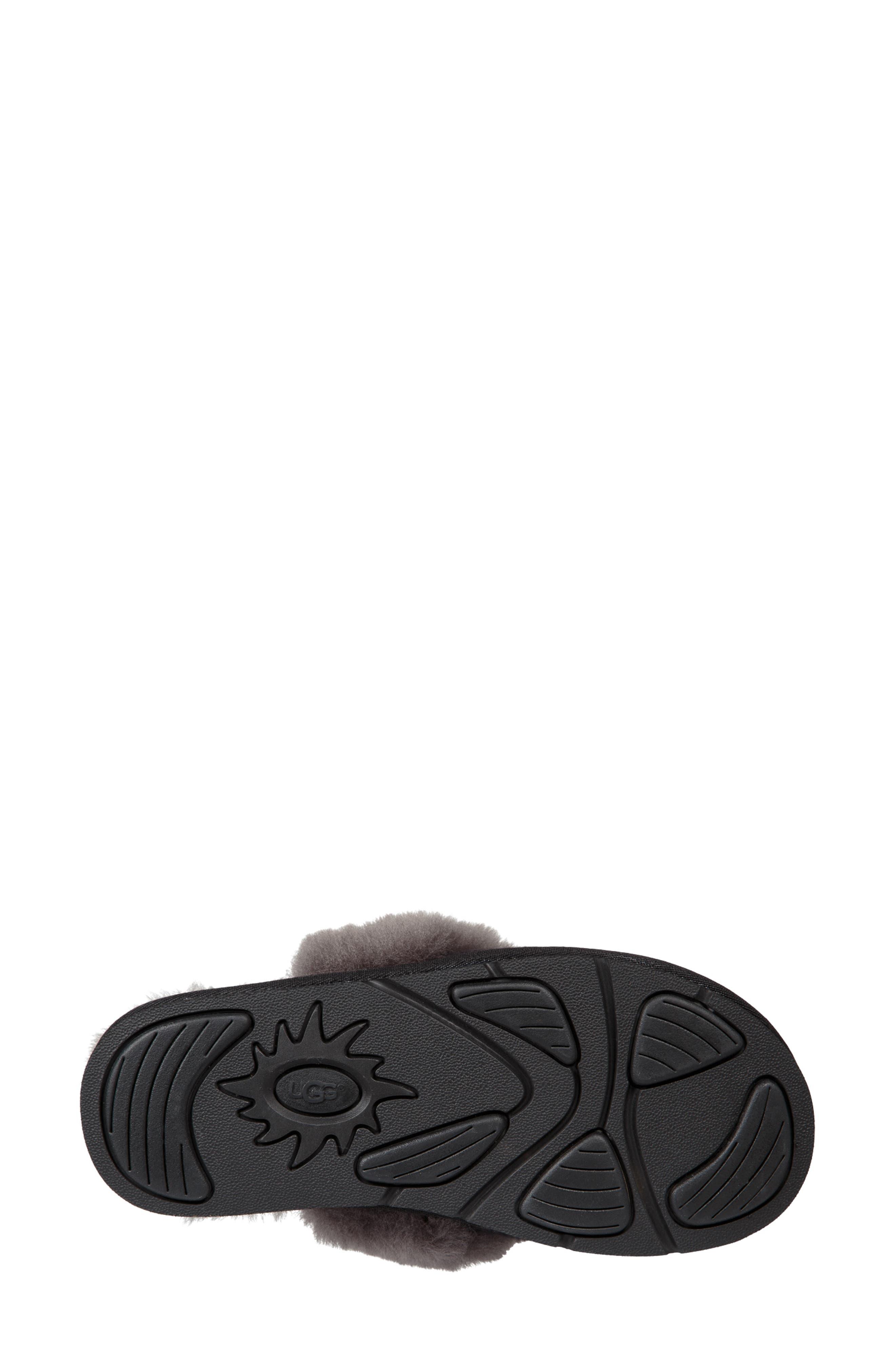 Cozy Knit Genuine Shearling Slipper,                             Alternate thumbnail 5, color,                             BLACK