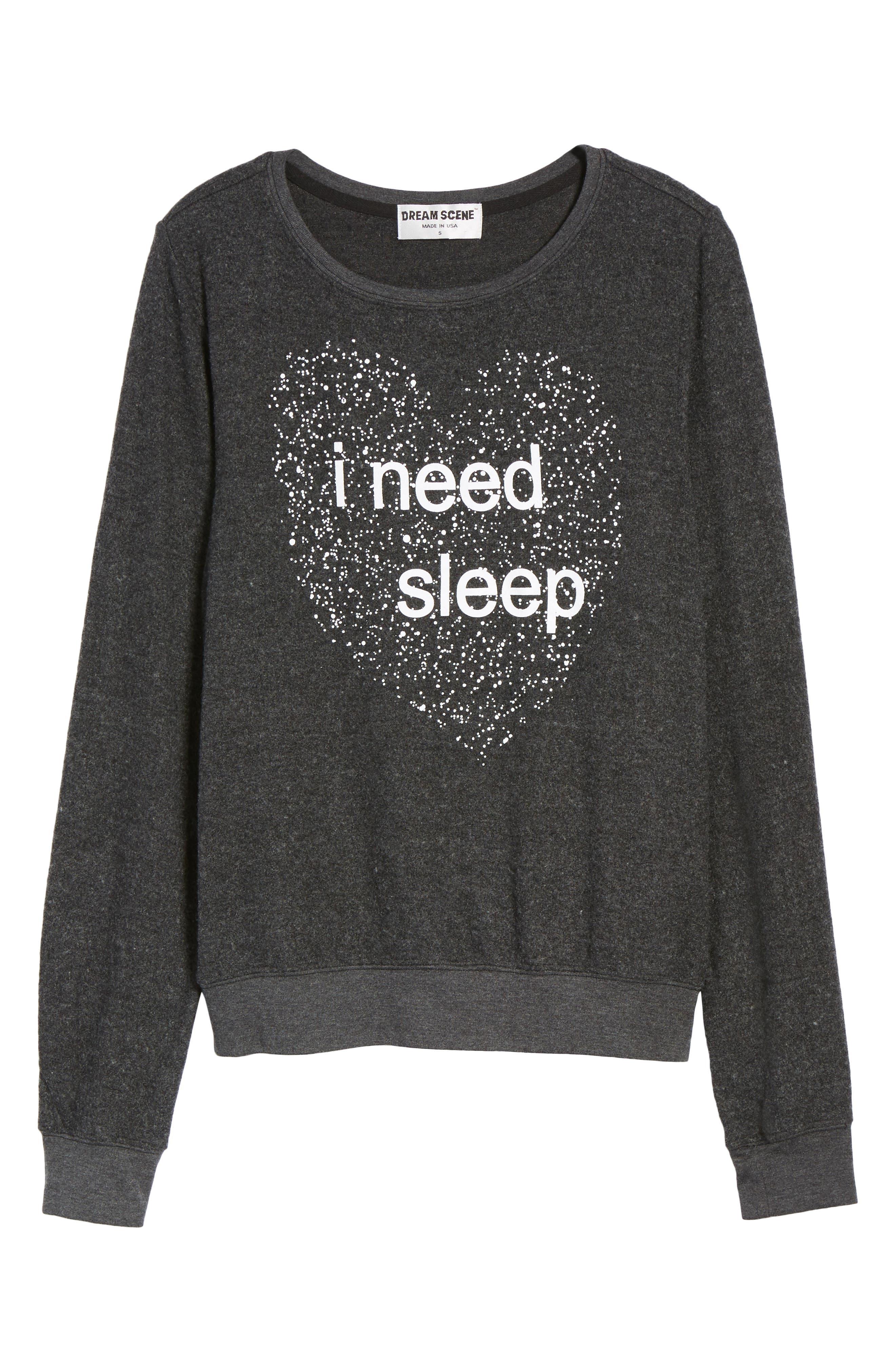 I Need Sleep Sweatshirt,                             Alternate thumbnail 6, color,                             002