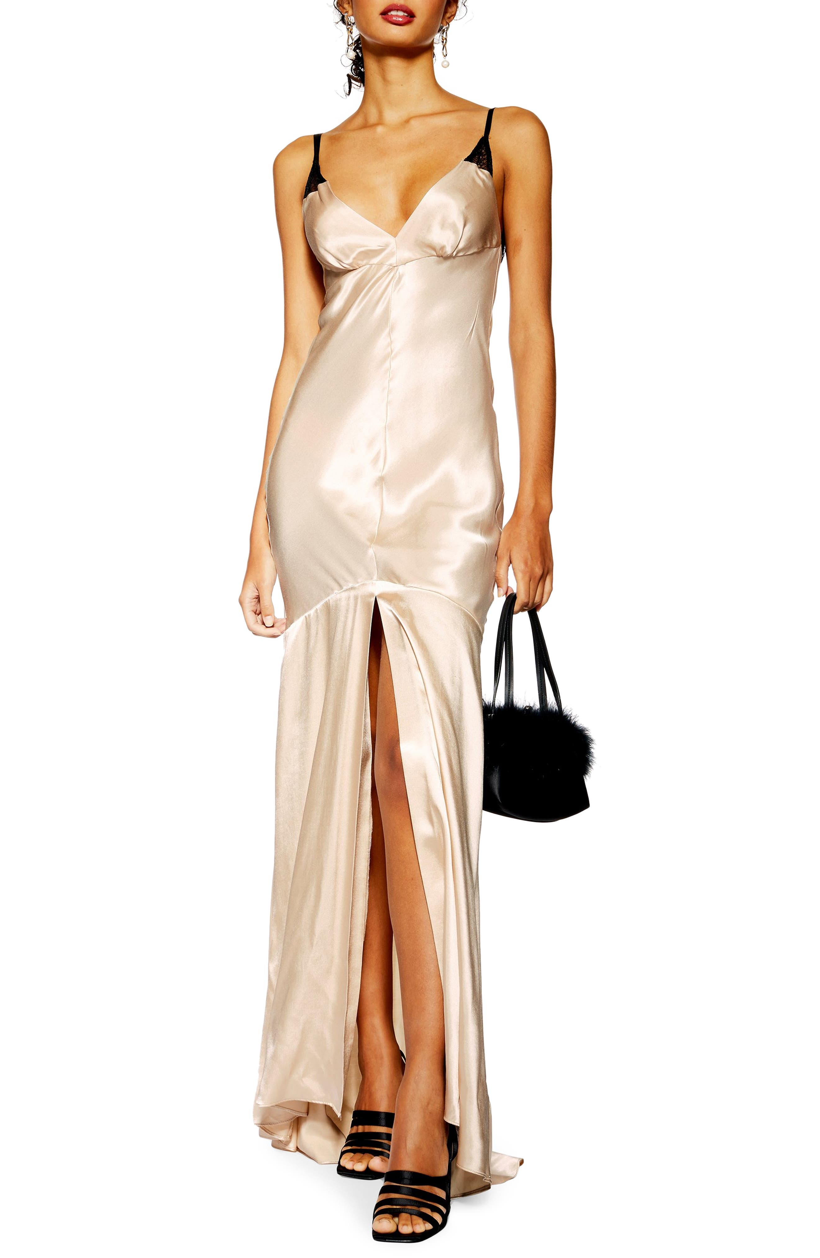 Topshop Lace Satin Maxi Dress, US (fits like 10-12) - Ivory