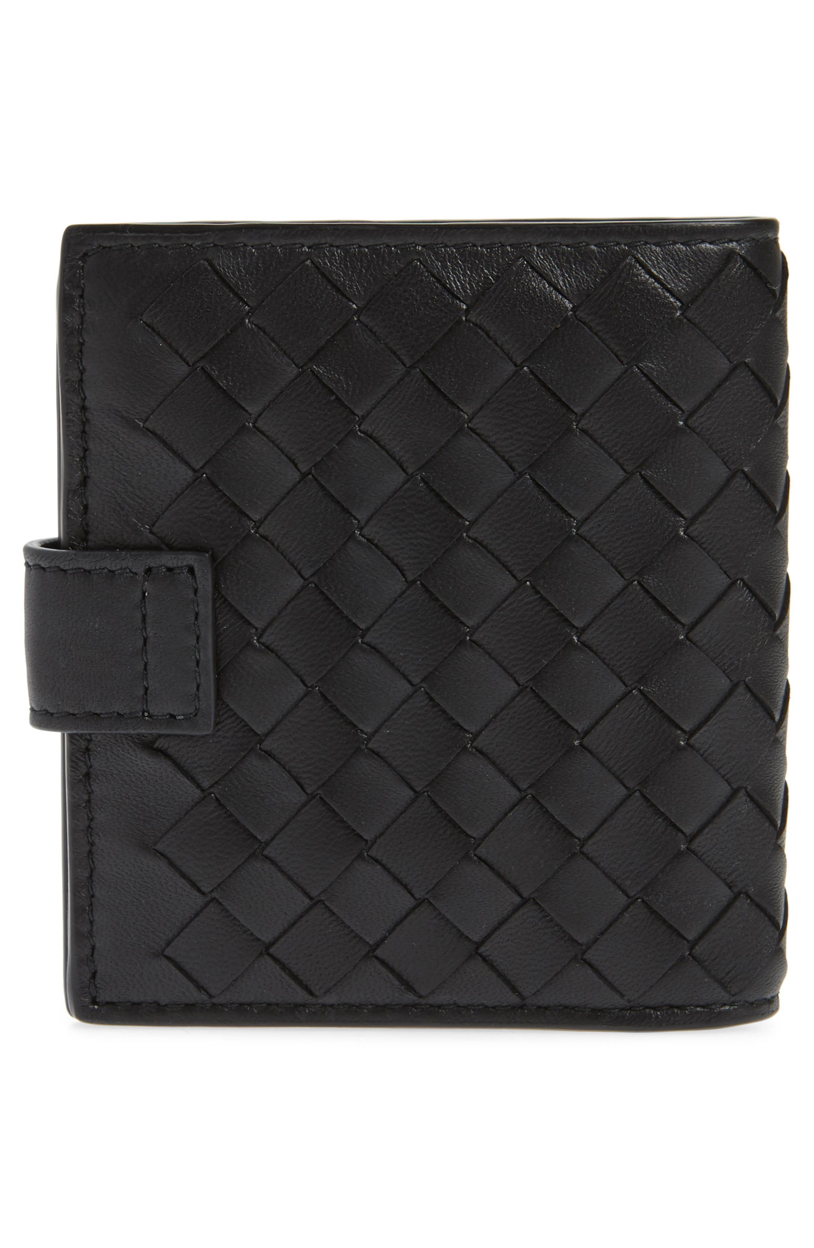 Intrecciato Leather French Wallet,                             Alternate thumbnail 4, color,                             BLACK