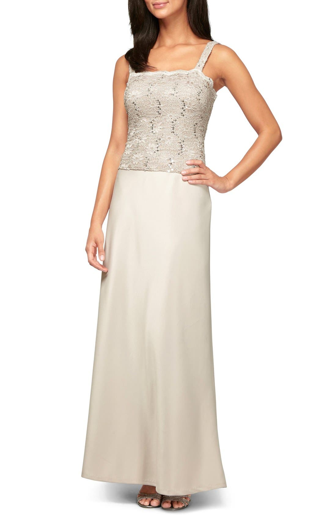 Sequin Lace & Satin Gown with Jacket,                             Alternate thumbnail 5, color,                             TAUPE