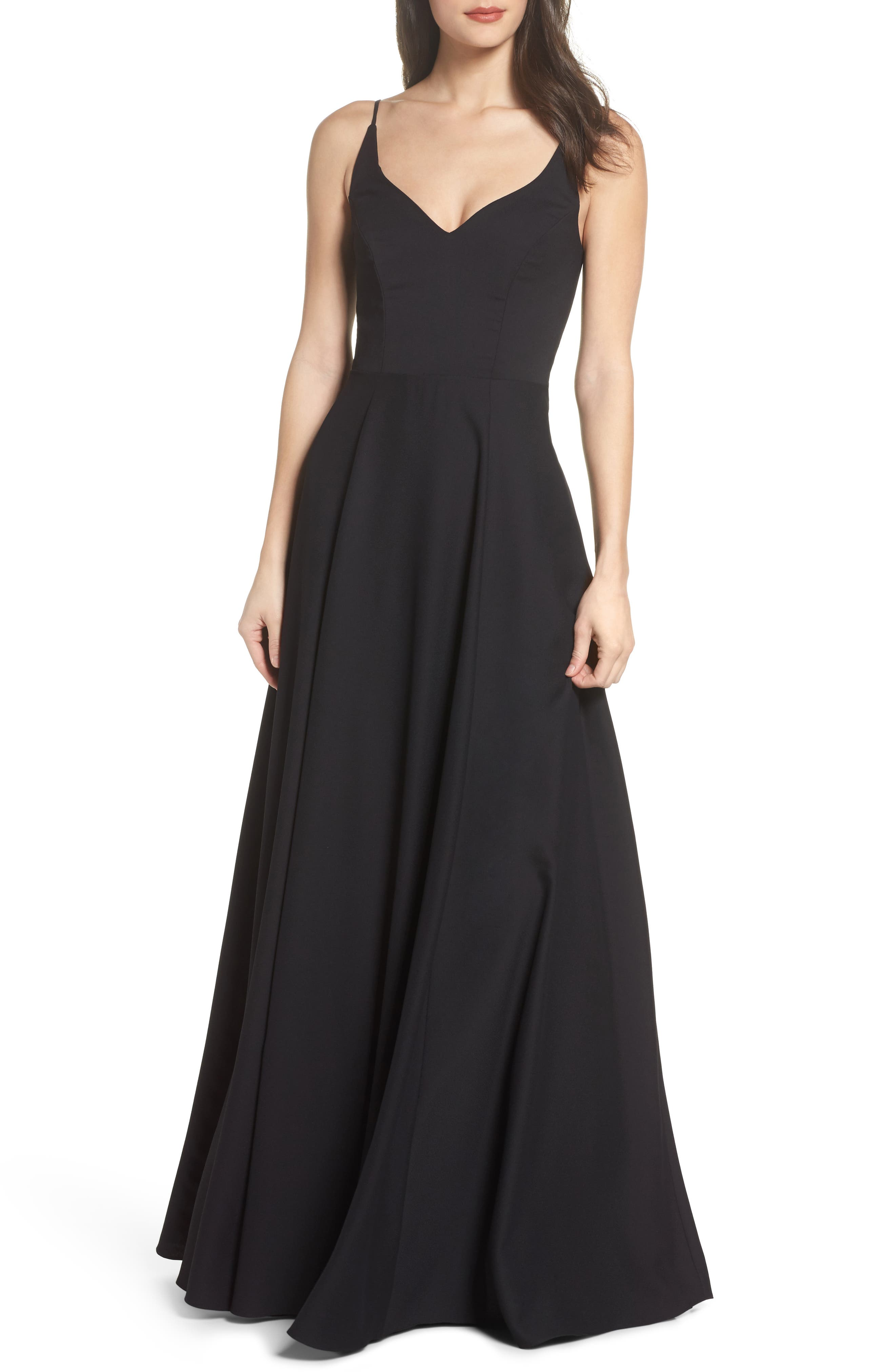 Cutout Crepe A-Line Gown,                         Main,                         color, 002