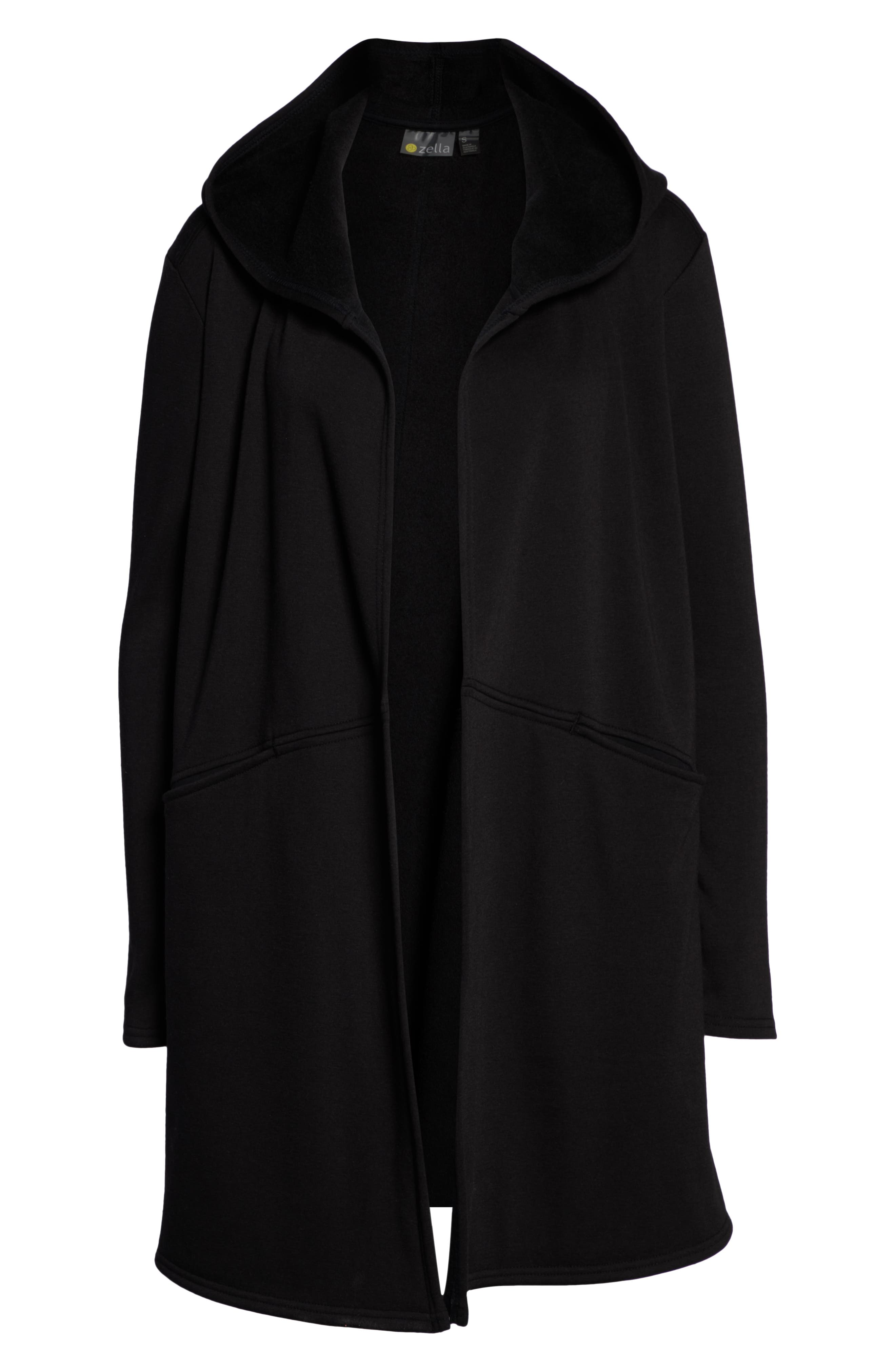 ZELLA,                             Plush Lined Wrap Hooded Jacket,                             Alternate thumbnail 7, color,                             001