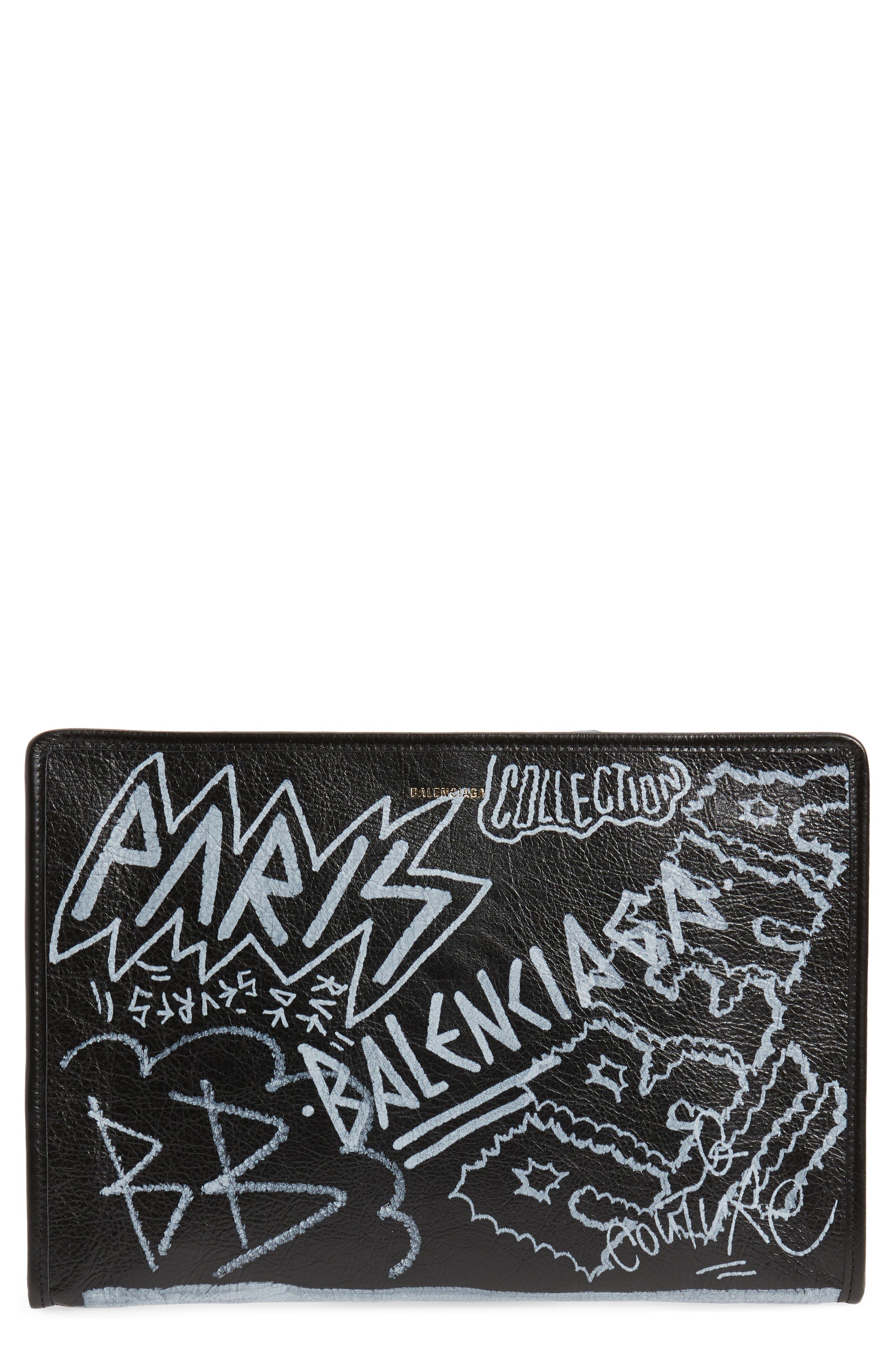 BALENCIAGA,                             Graffiti Embellished Lambskin Pouch,                             Main thumbnail 1, color,                             NOIR/ BLANC
