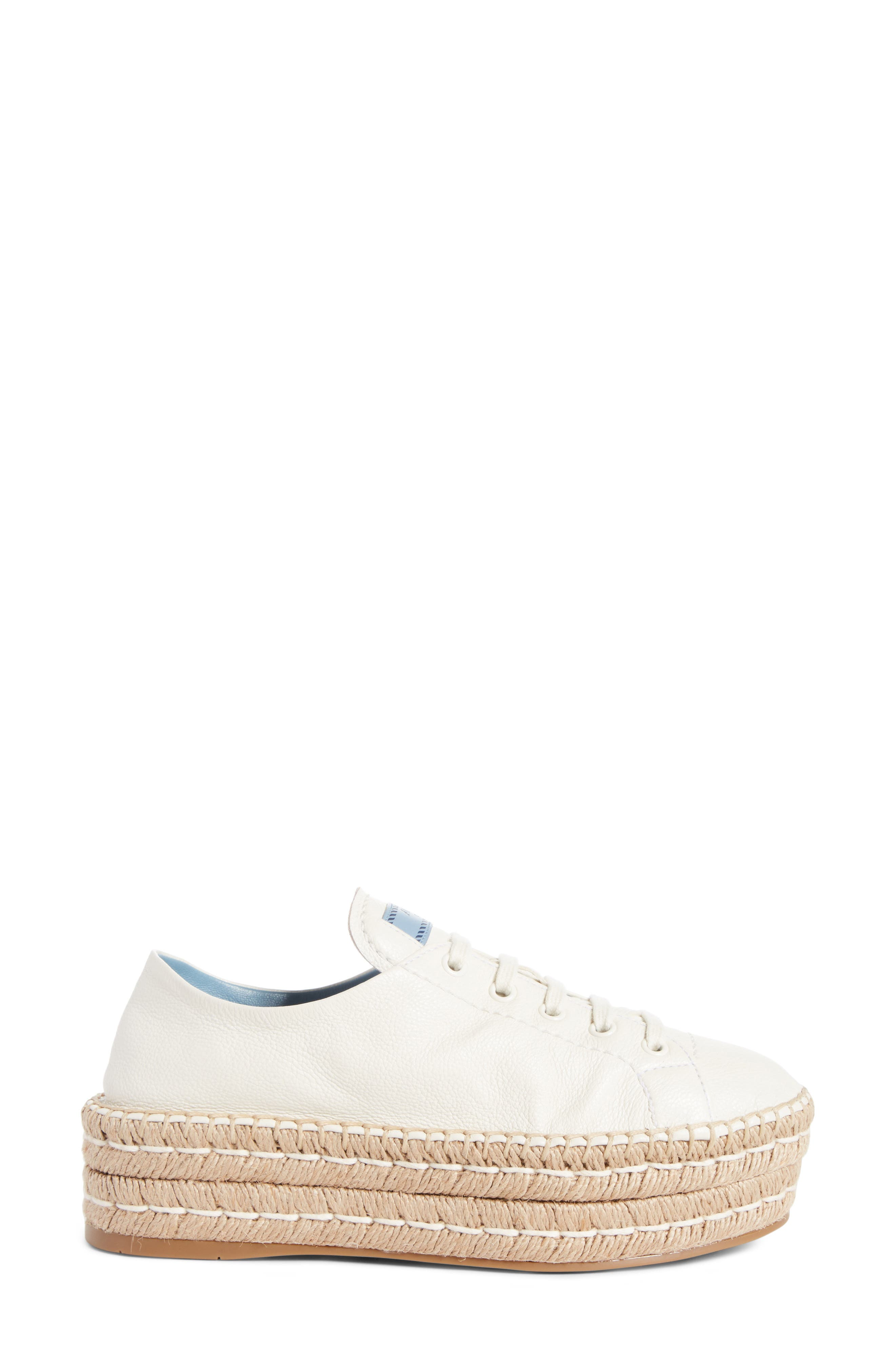 PRADA,                             Flatform Espadrille Sneaker,                             Alternate thumbnail 3, color,                             WHITE