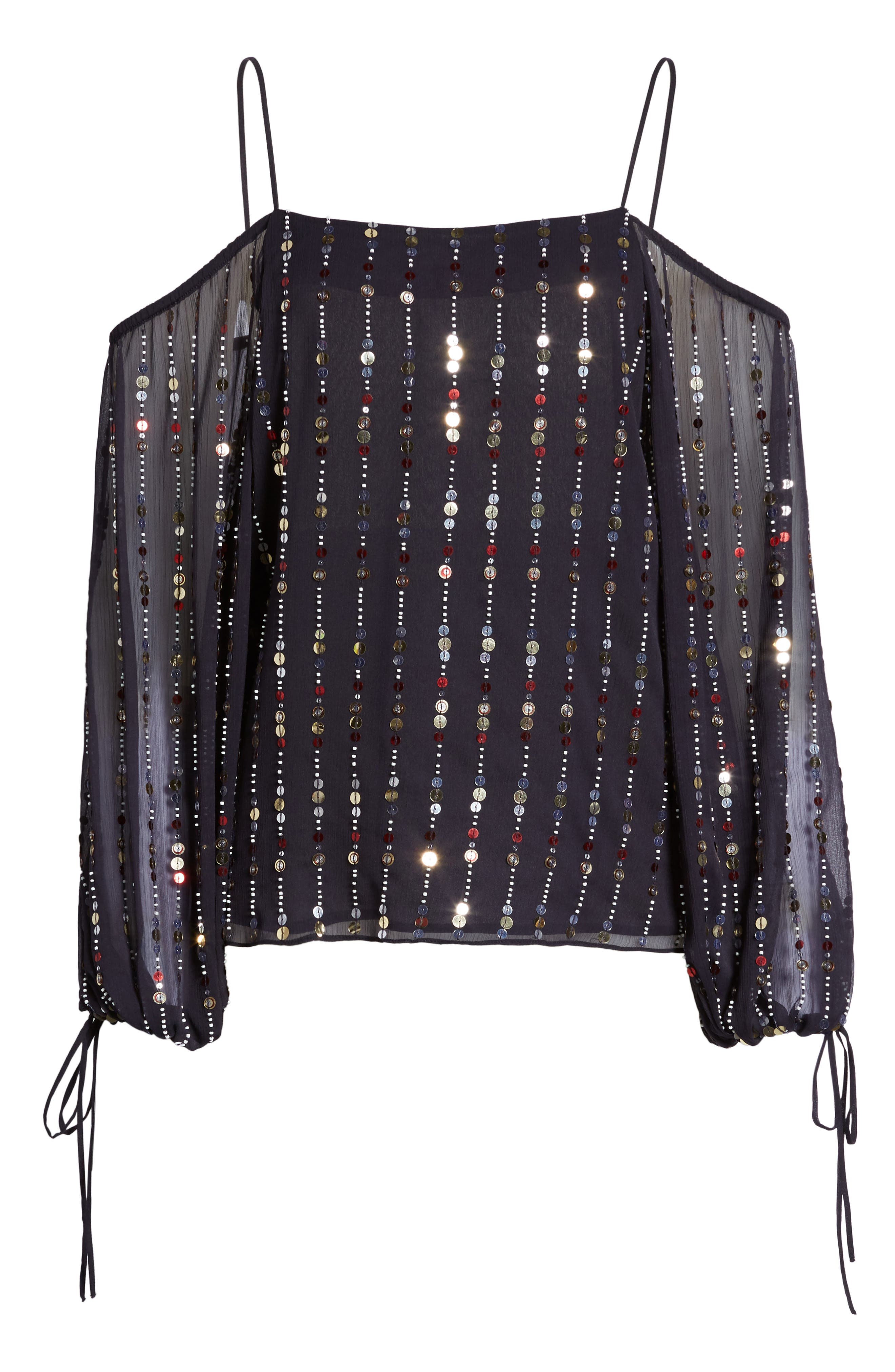 Cleo Sequin Date Night Blouse,                             Alternate thumbnail 6, color,                             410