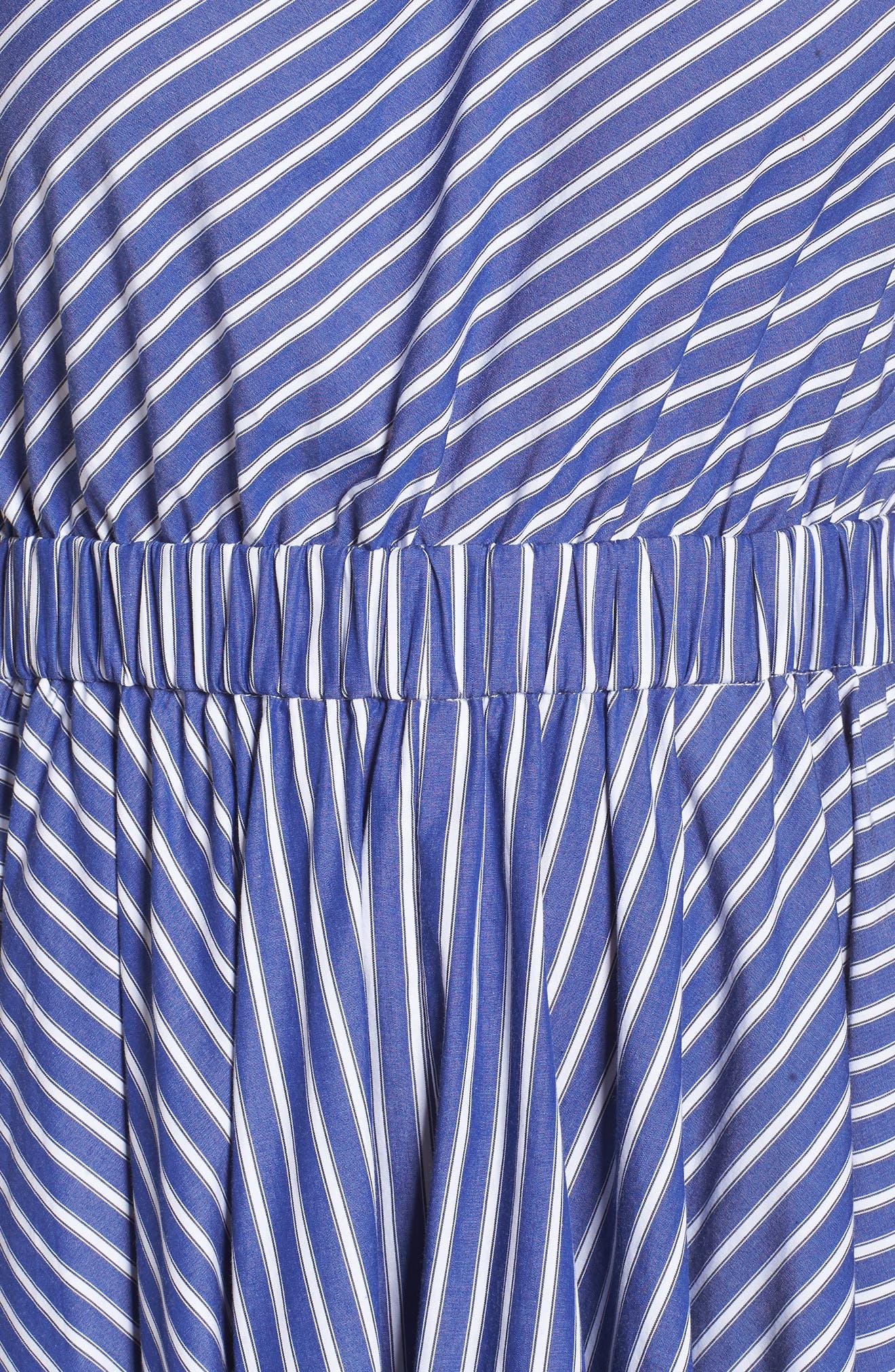 One-Shoulder Fit & Flare Dress,                             Alternate thumbnail 5, color,