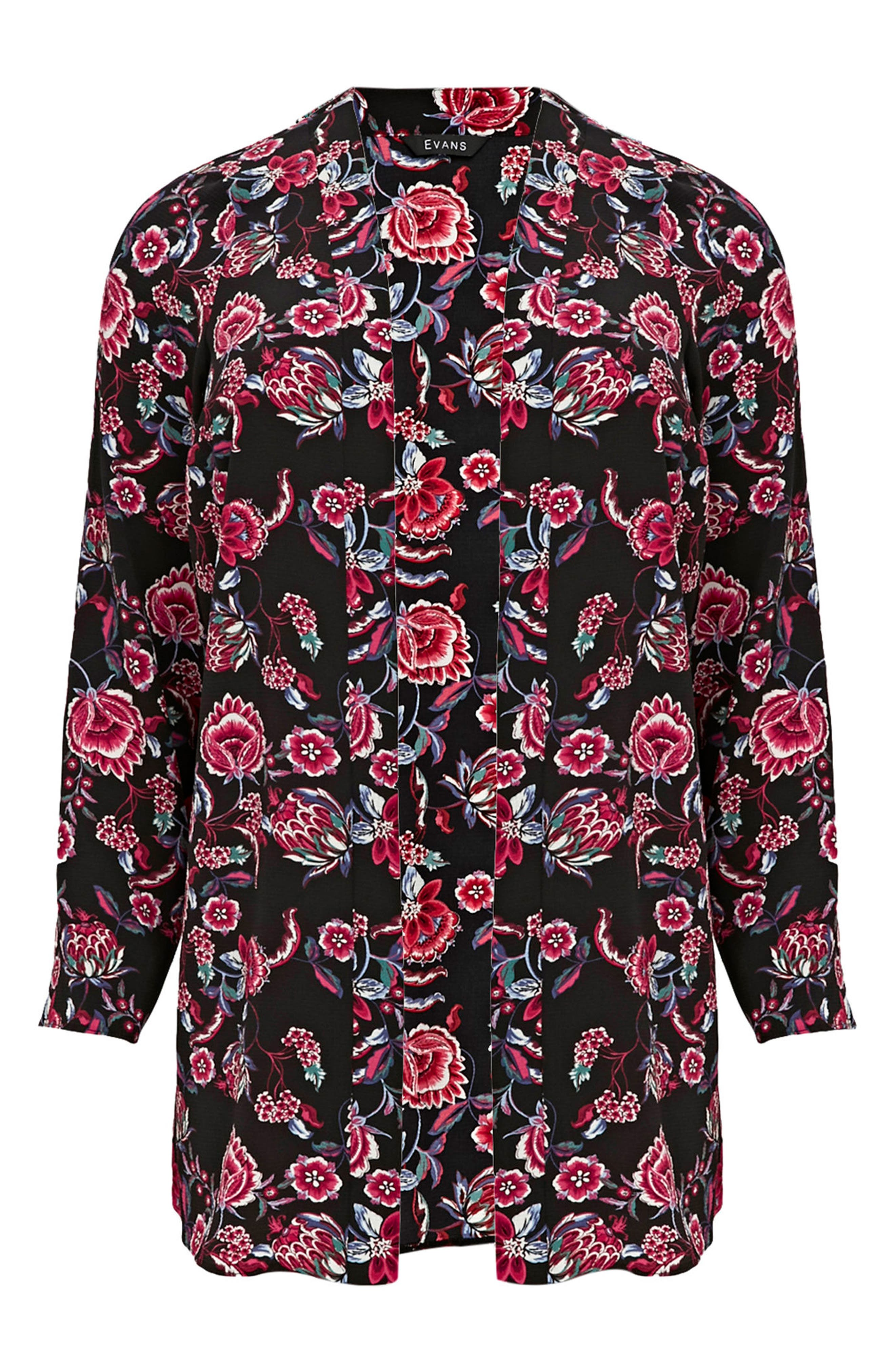 Floral Kimono Jacket,                             Alternate thumbnail 3, color,                             001