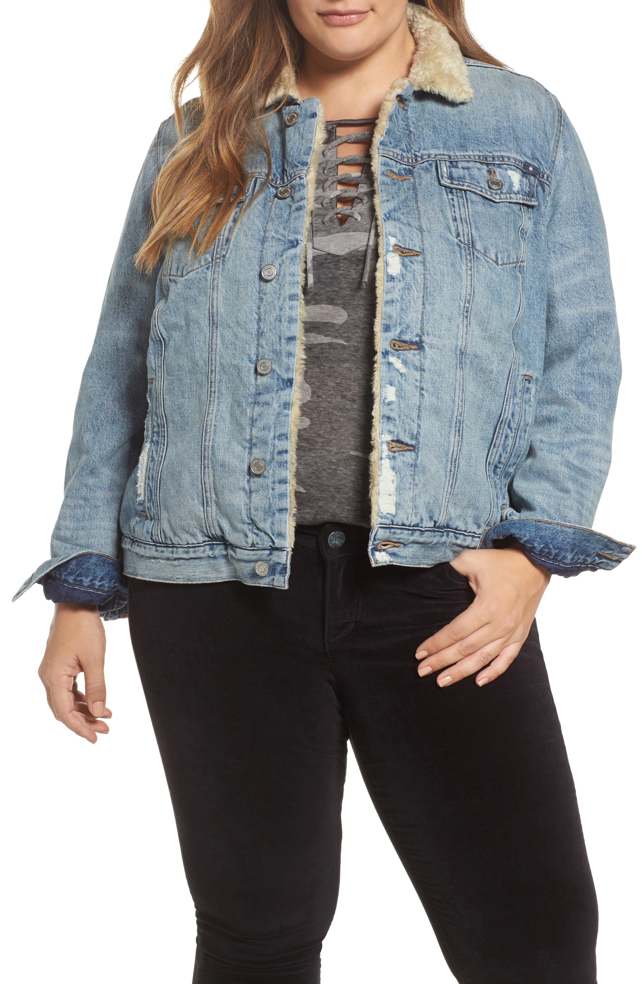 Faux Fur Collar Trucker Jacket,                         Main,                         color, 430