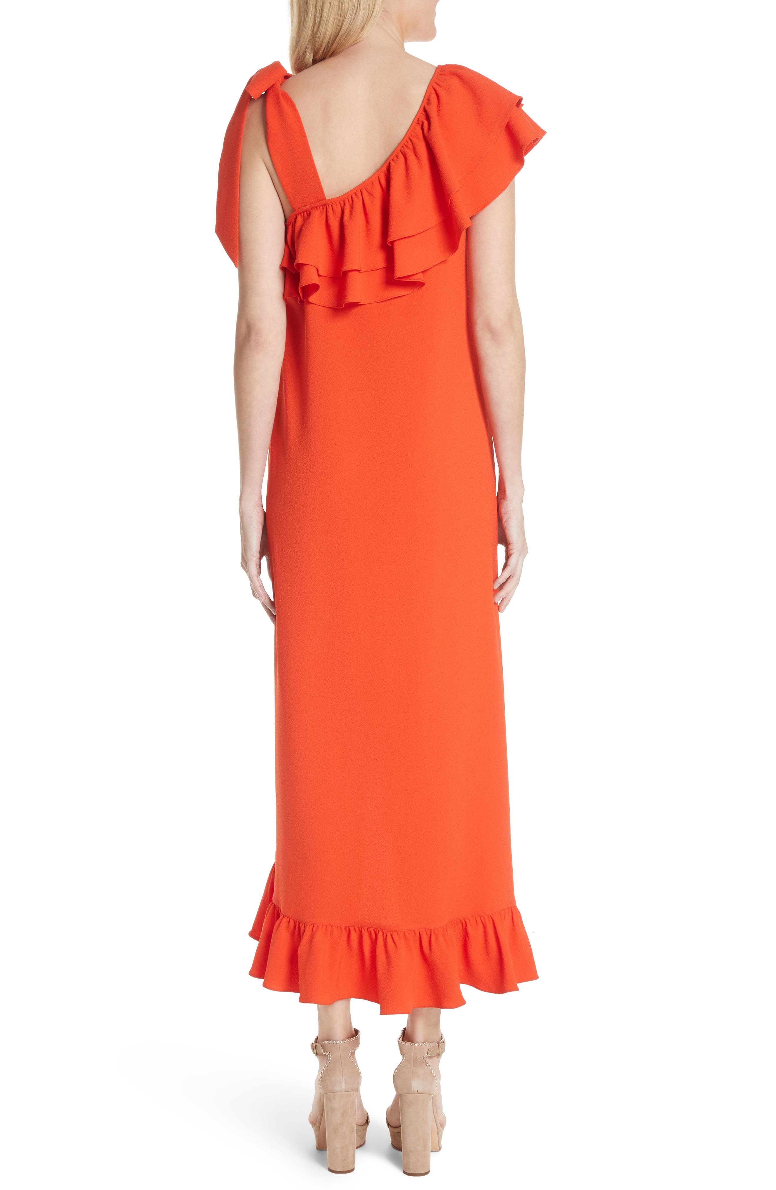Clark Ruffle Maxi Dress,                             Alternate thumbnail 2, color,                             BIG APPLE RED