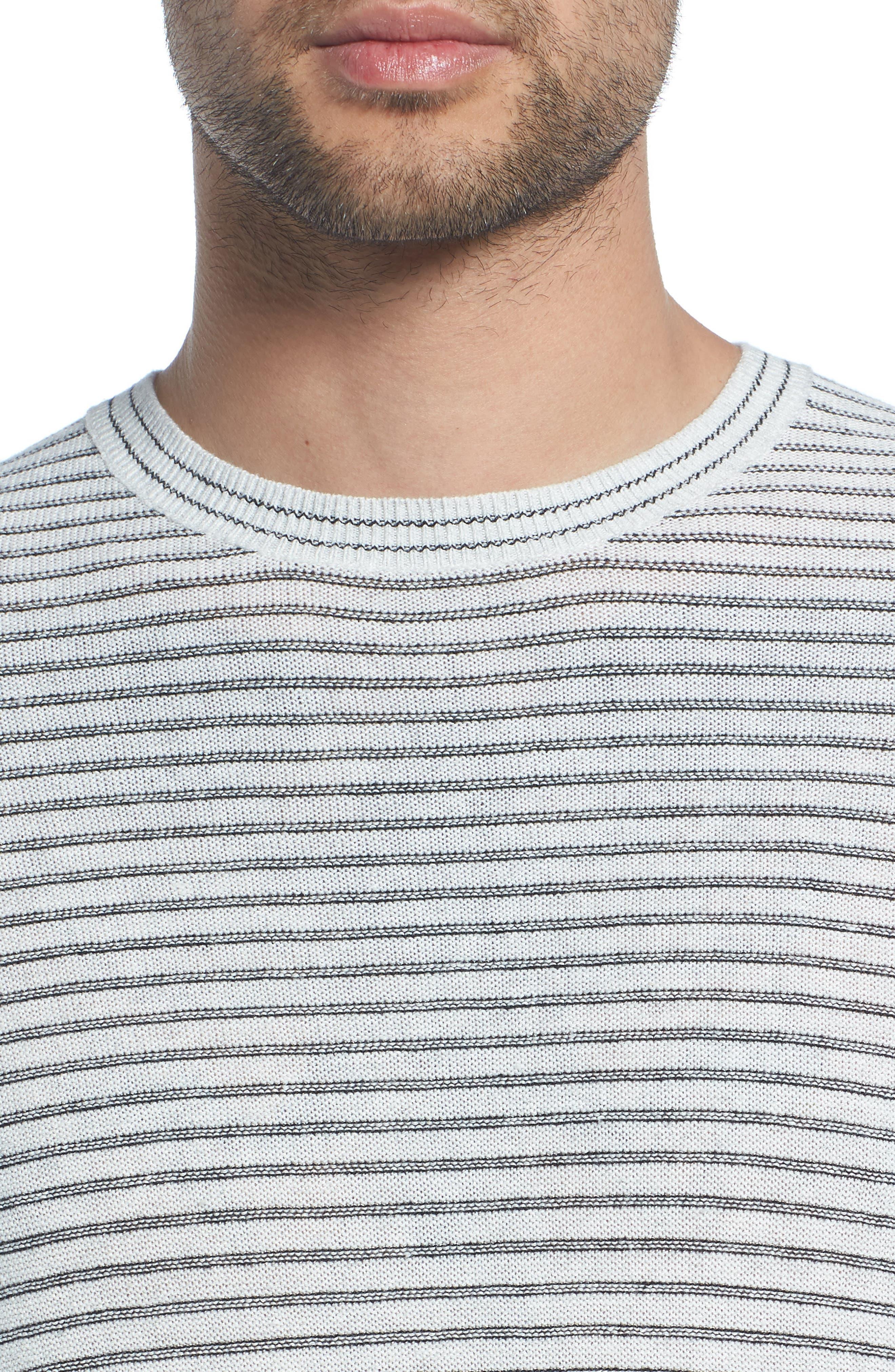 Stripe Long Sleeve Shirt,                             Alternate thumbnail 4, color,                             H WHITE/ BLACK