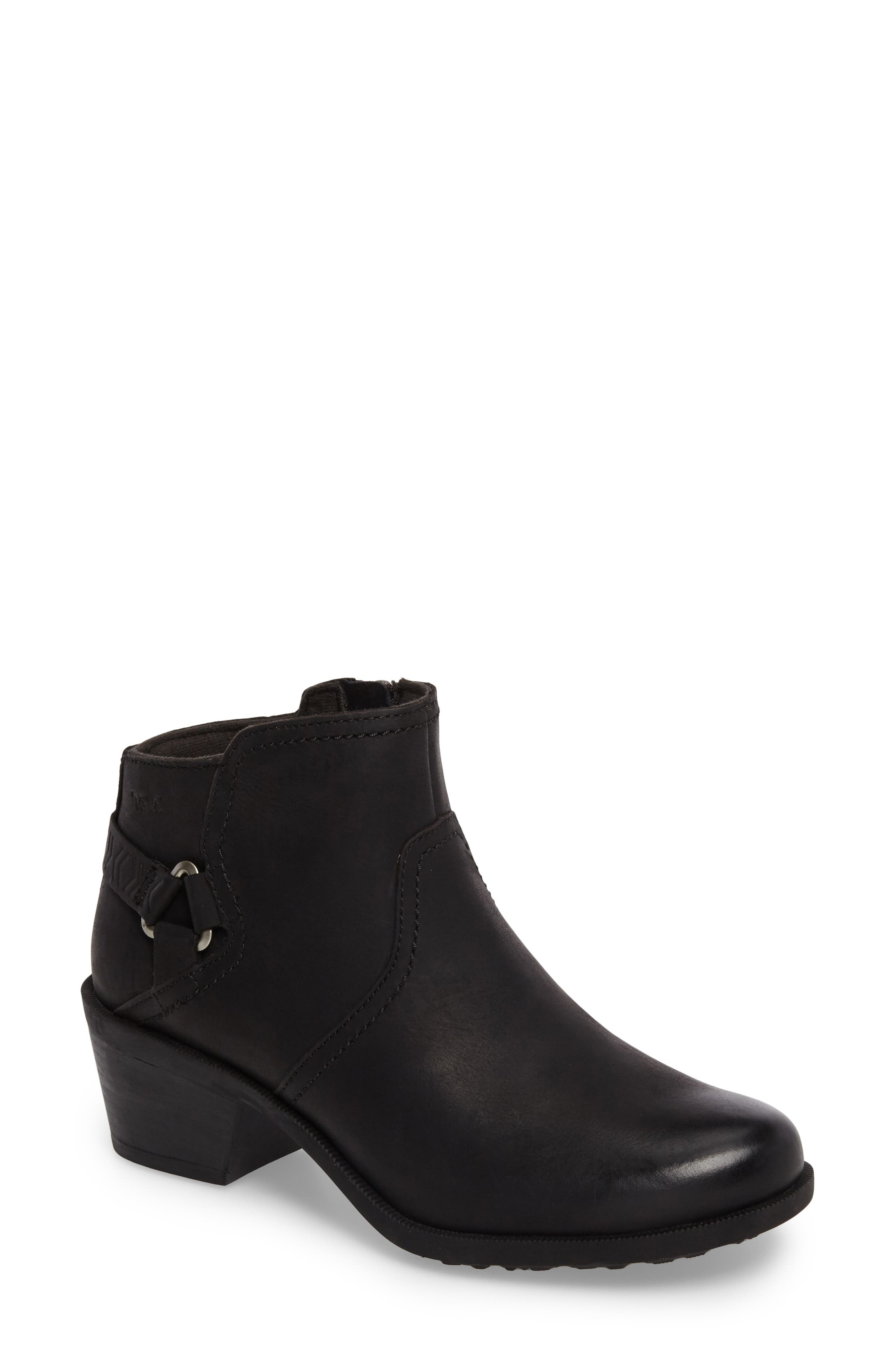 'Foxy' Bootie,                             Main thumbnail 1, color,                             BLACK LEATHER