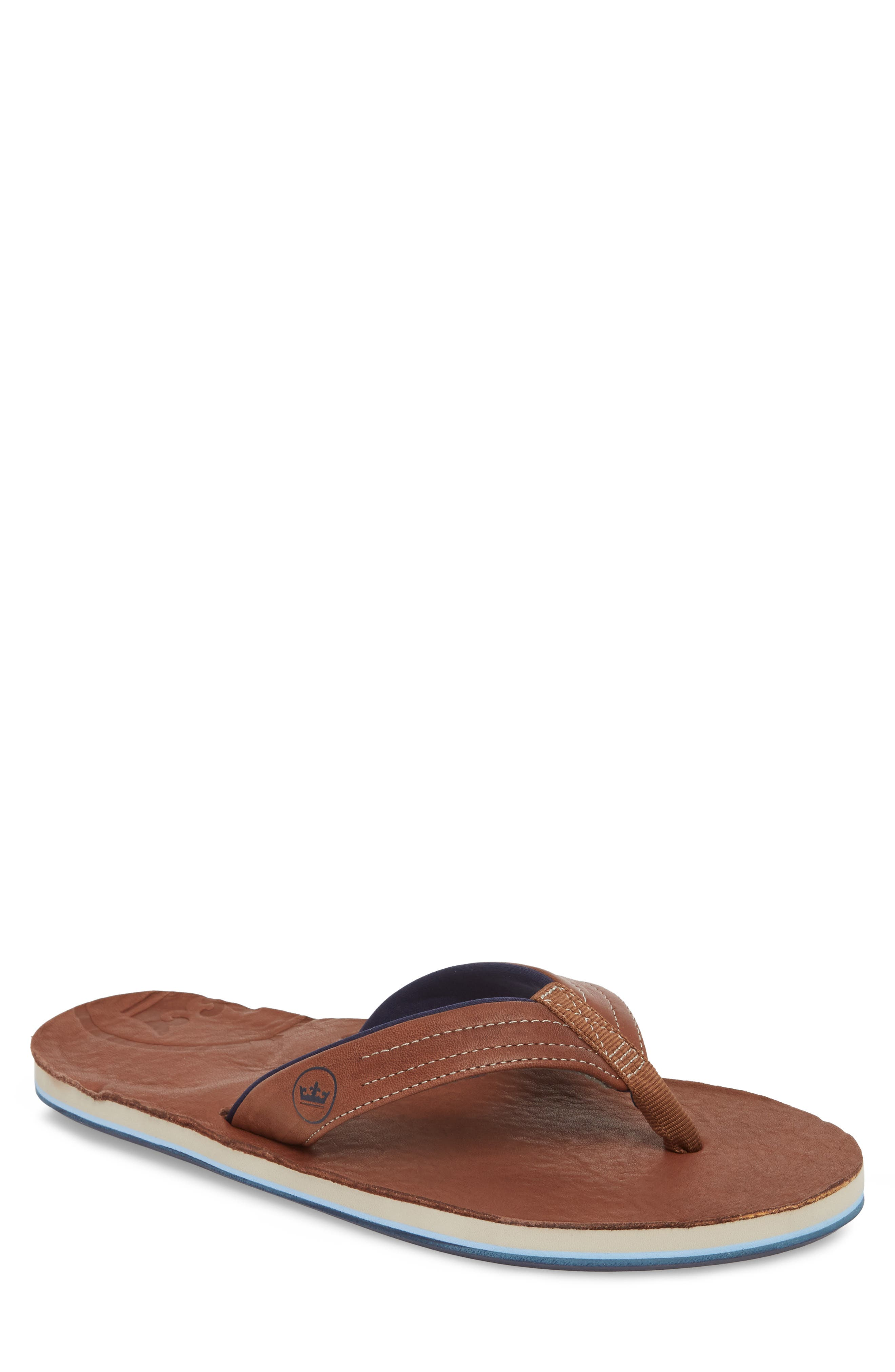 x Peter Millar Leather Flip Flop,                             Main thumbnail 1, color,                             DARK CHOCOLATE LEATHER