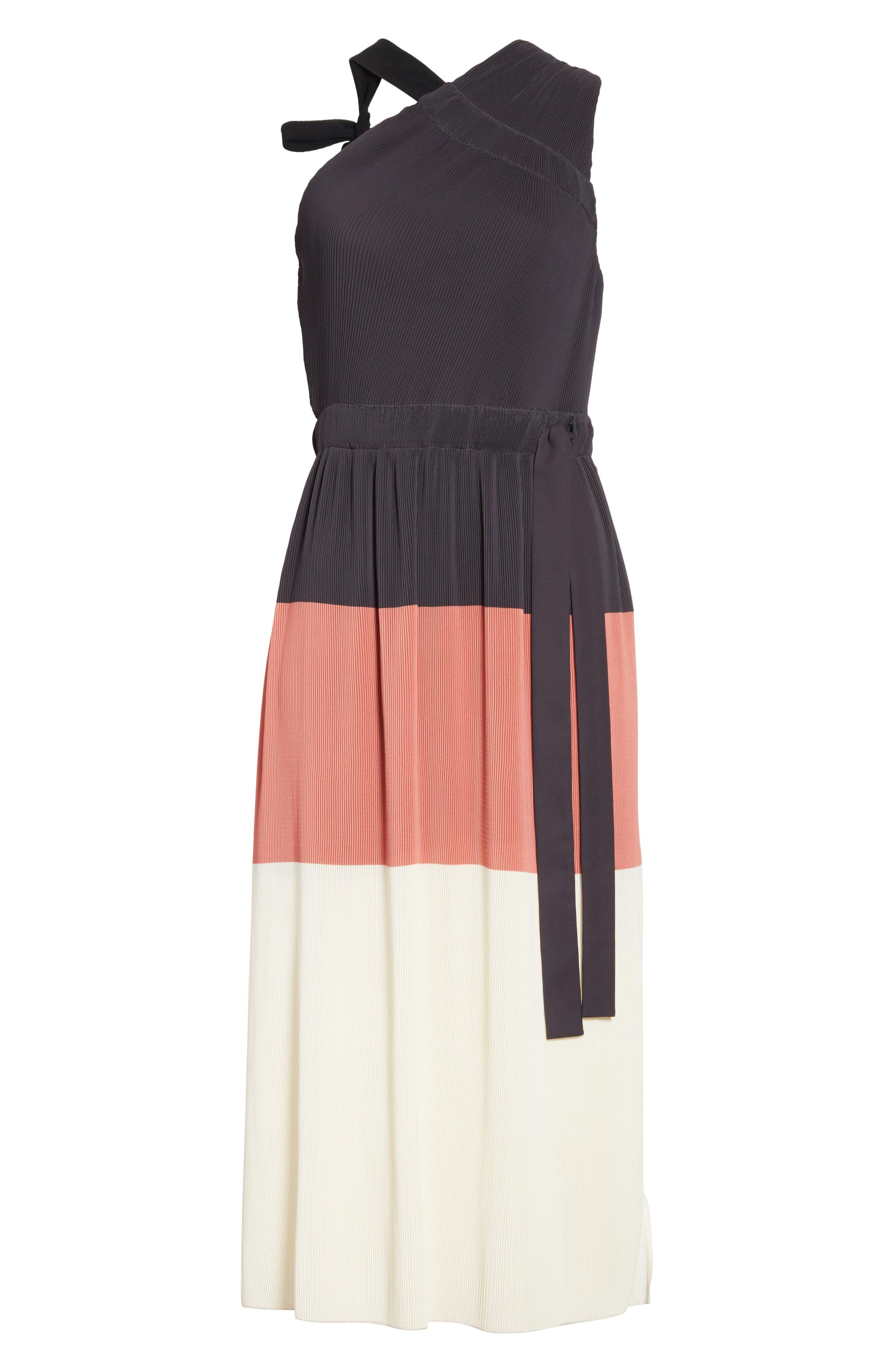 Colorblock Pleated Dress,                             Alternate thumbnail 6, color,                             007