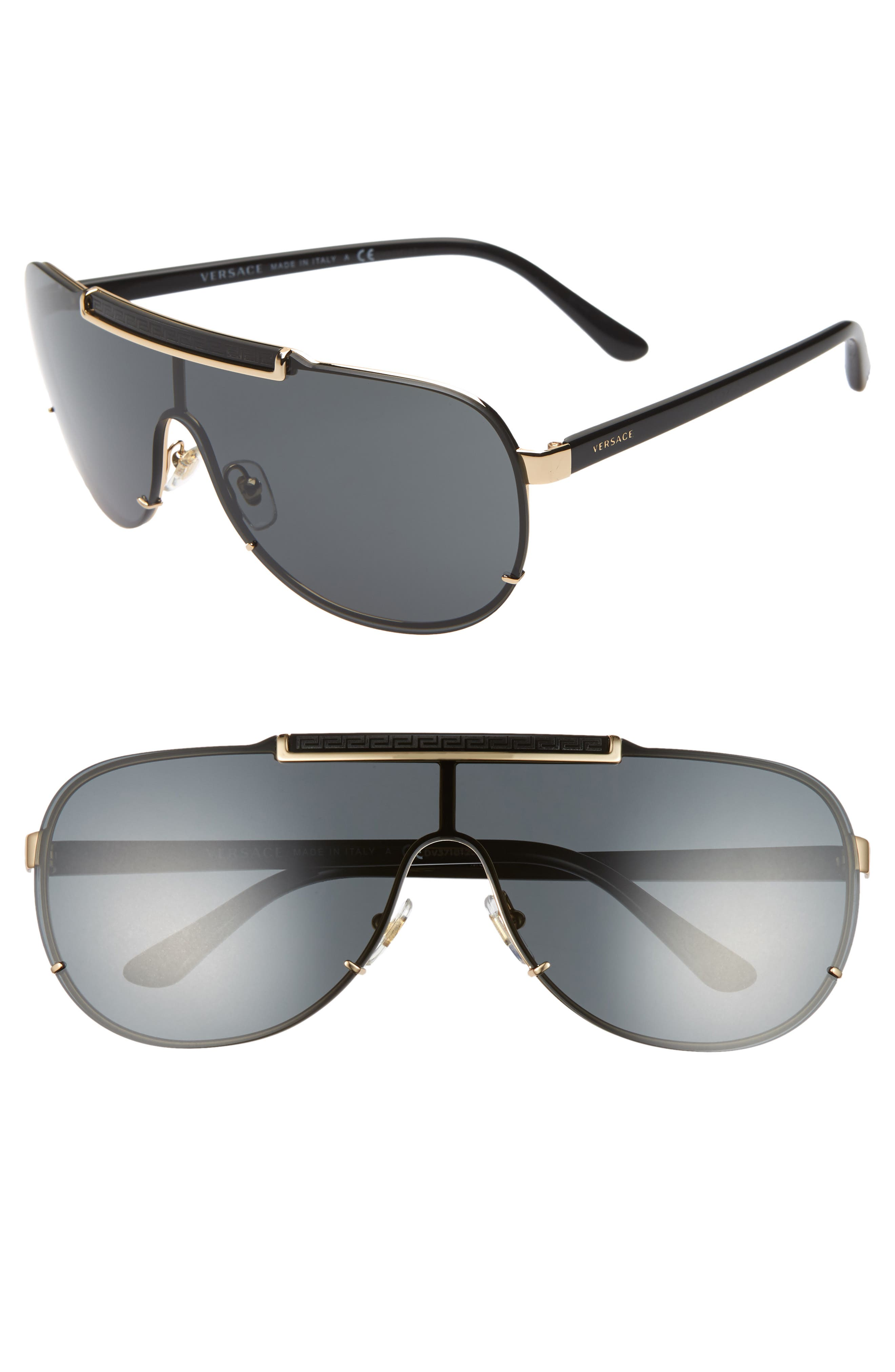 f0d698fd9d1 Women s Versace 40Mm Shield Sunglasses - Black  Gold  Black Solid