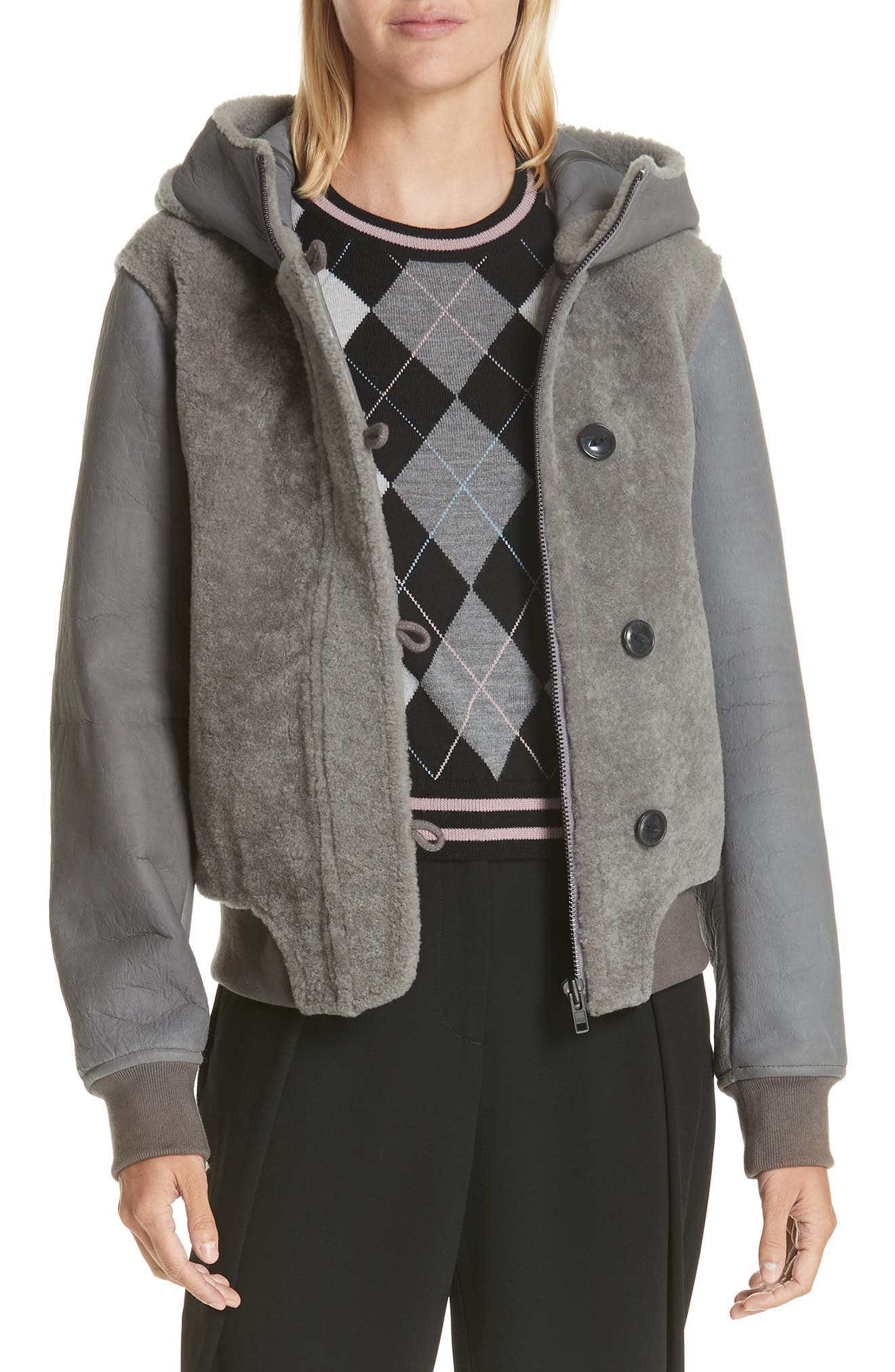 Rag & Bone Meesha Genuine Shearling Jacket, Grey