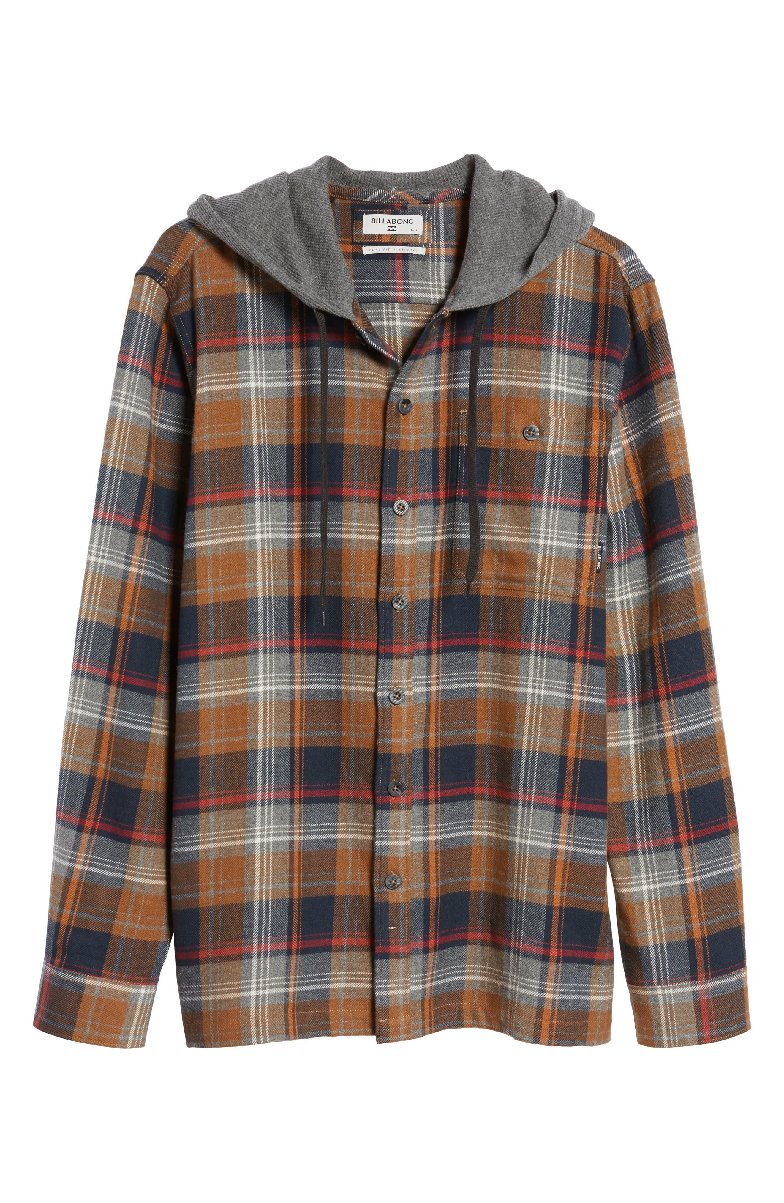 Baja Hooded Flannel Shirt,                             Alternate thumbnail 6, color,                             204
