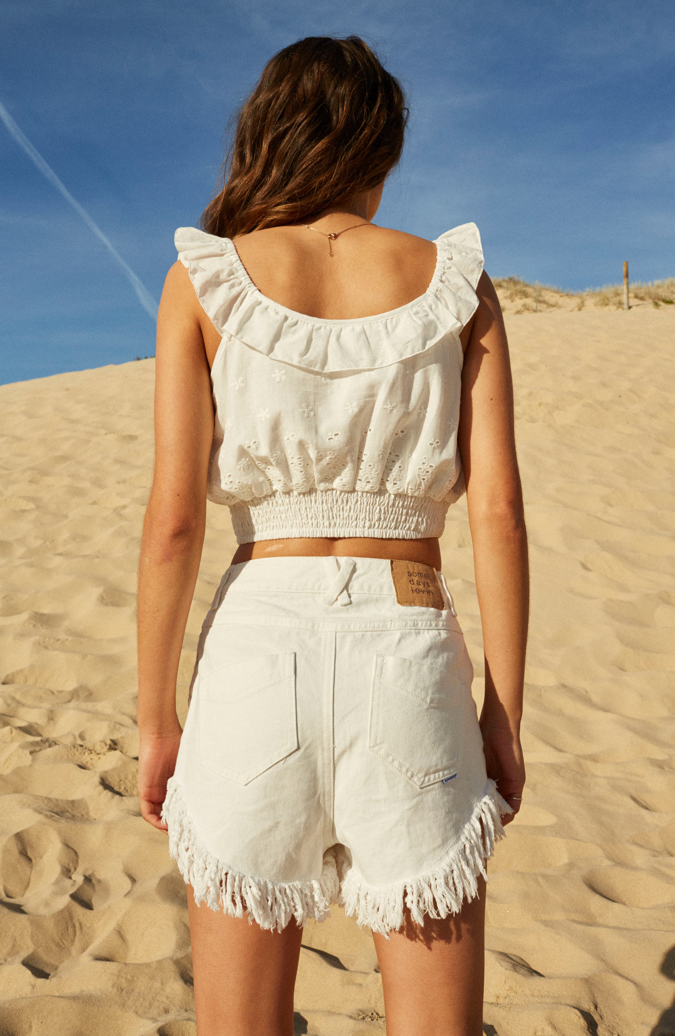 Bianco Eyelet Crop Top,                             Alternate thumbnail 8, color,