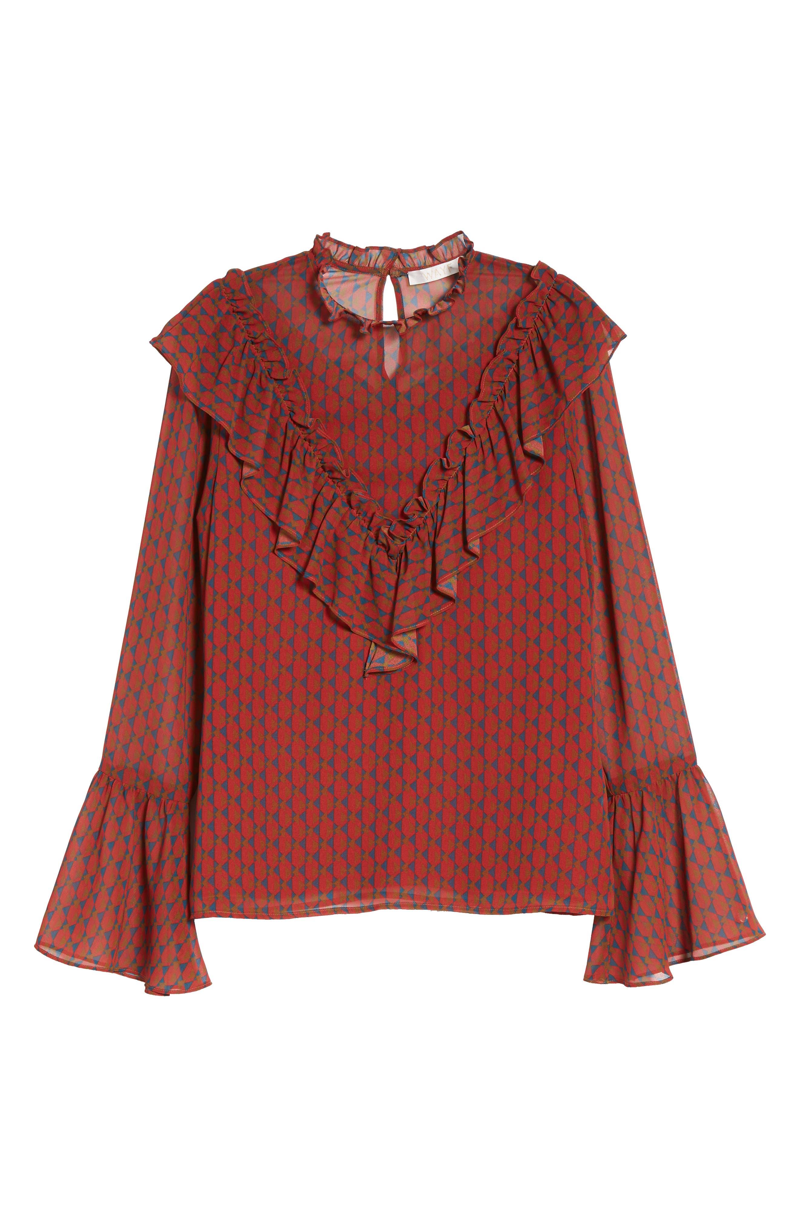 Eryn Ruffle Bell Sleeve Blouse,                             Alternate thumbnail 6, color,                             600
