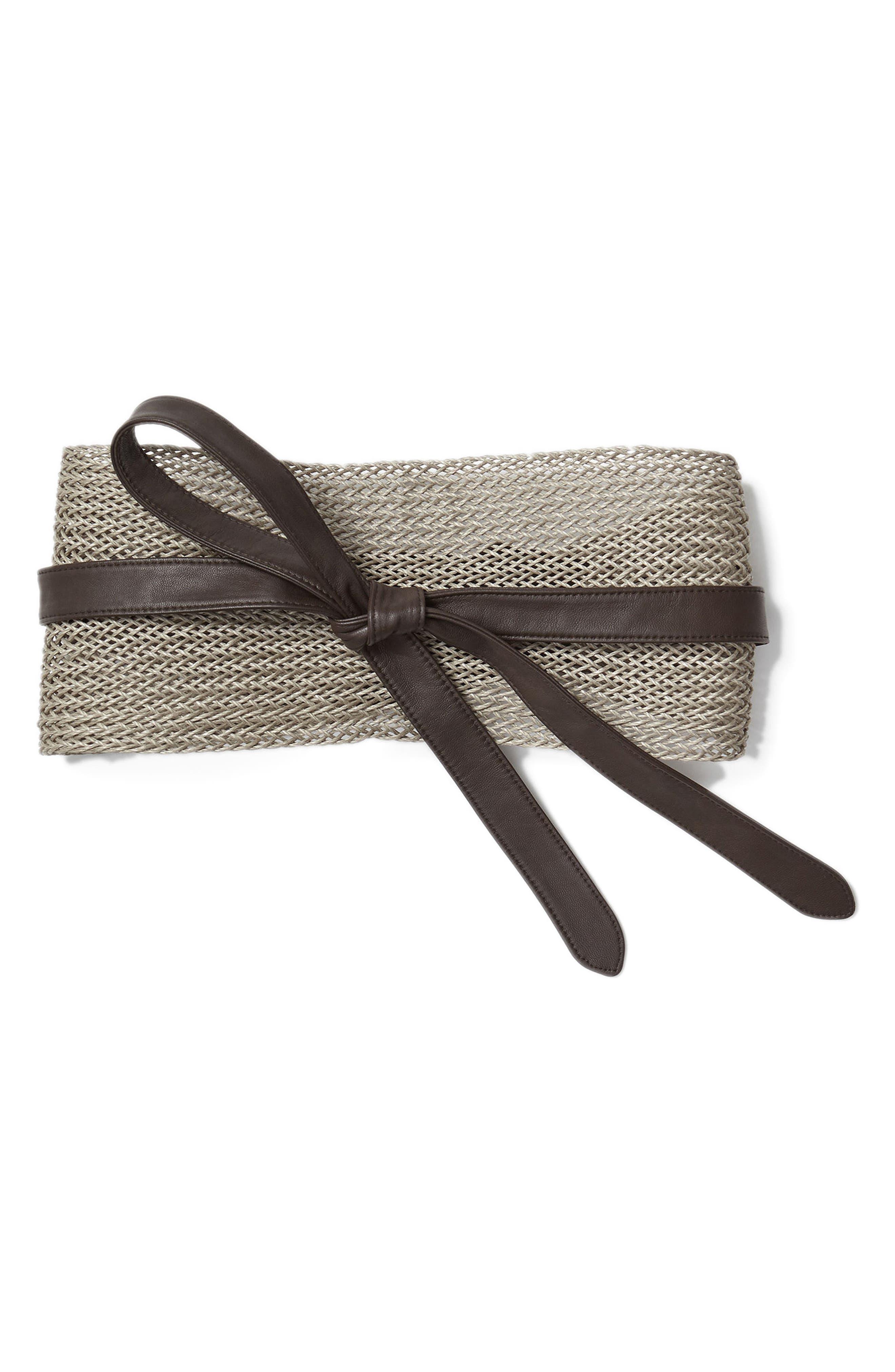 Obi Linen & Leather Belt,                         Main,                         color, NIGHTINGALE