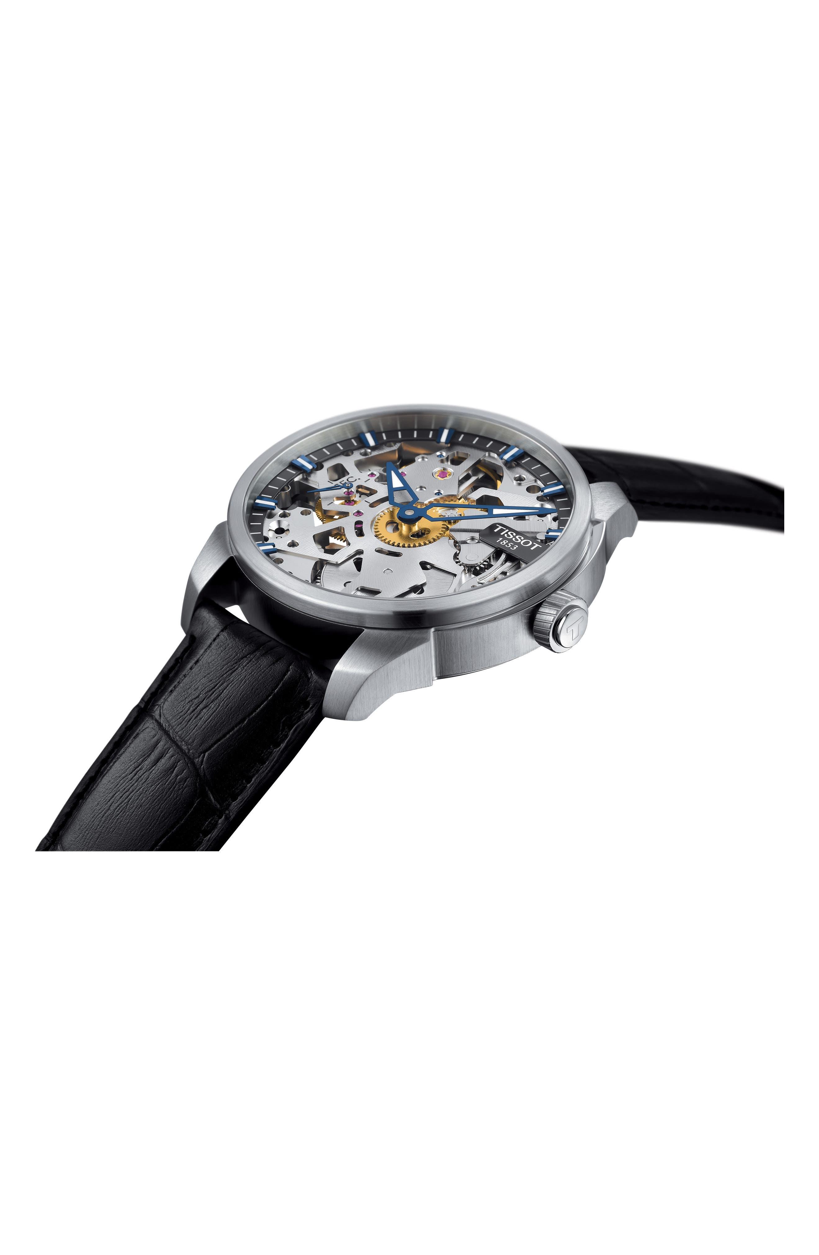 TISSOT,                             T-Complicated Squellette Mechanical Watch, 43mm,                             Alternate thumbnail 3, color,                             BLACK/ SILVER