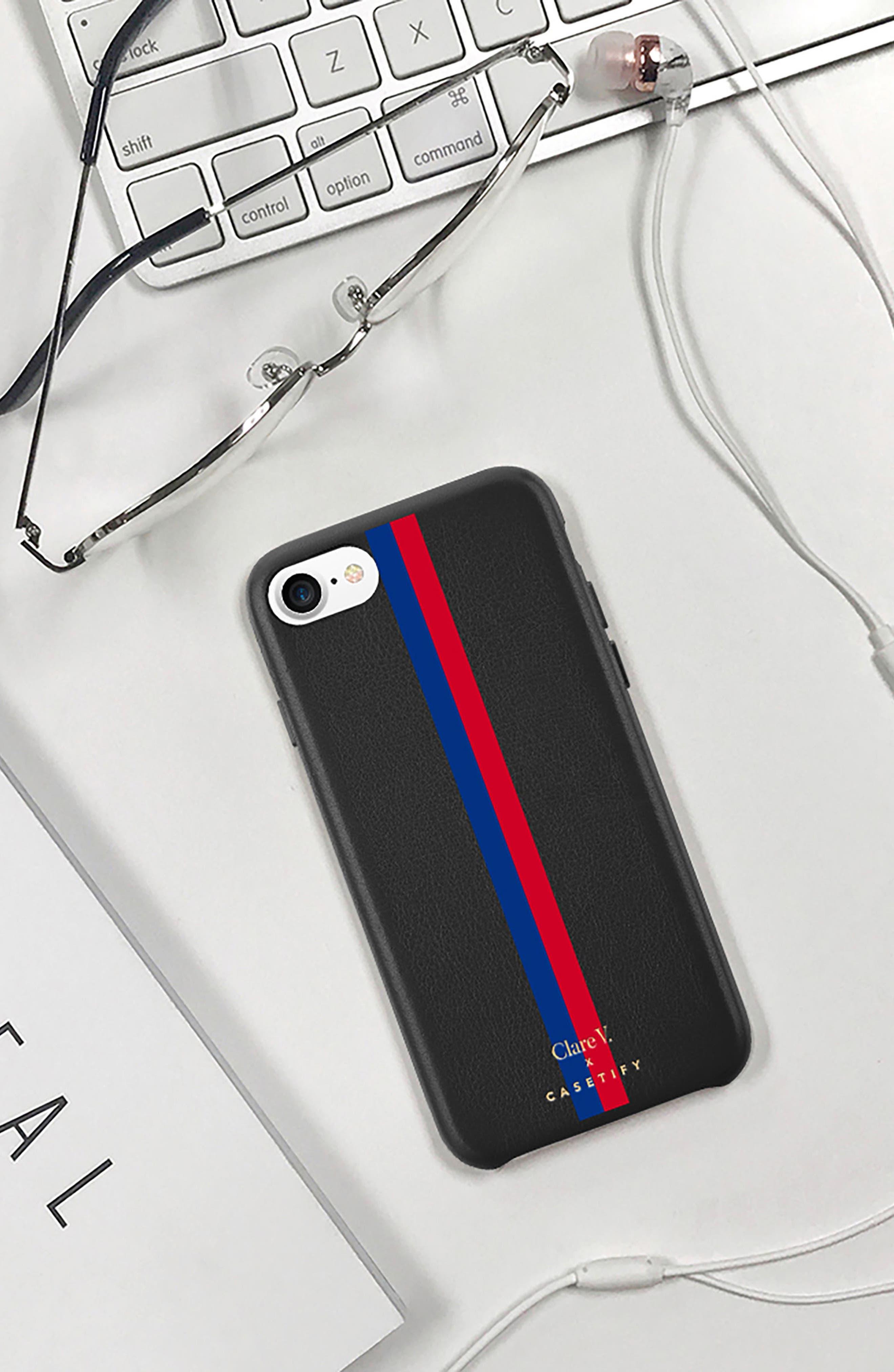 x Clare V. Stripe Leather iPhone 7/8 & 7/8 Plus Case,                             Alternate thumbnail 9, color,                             001