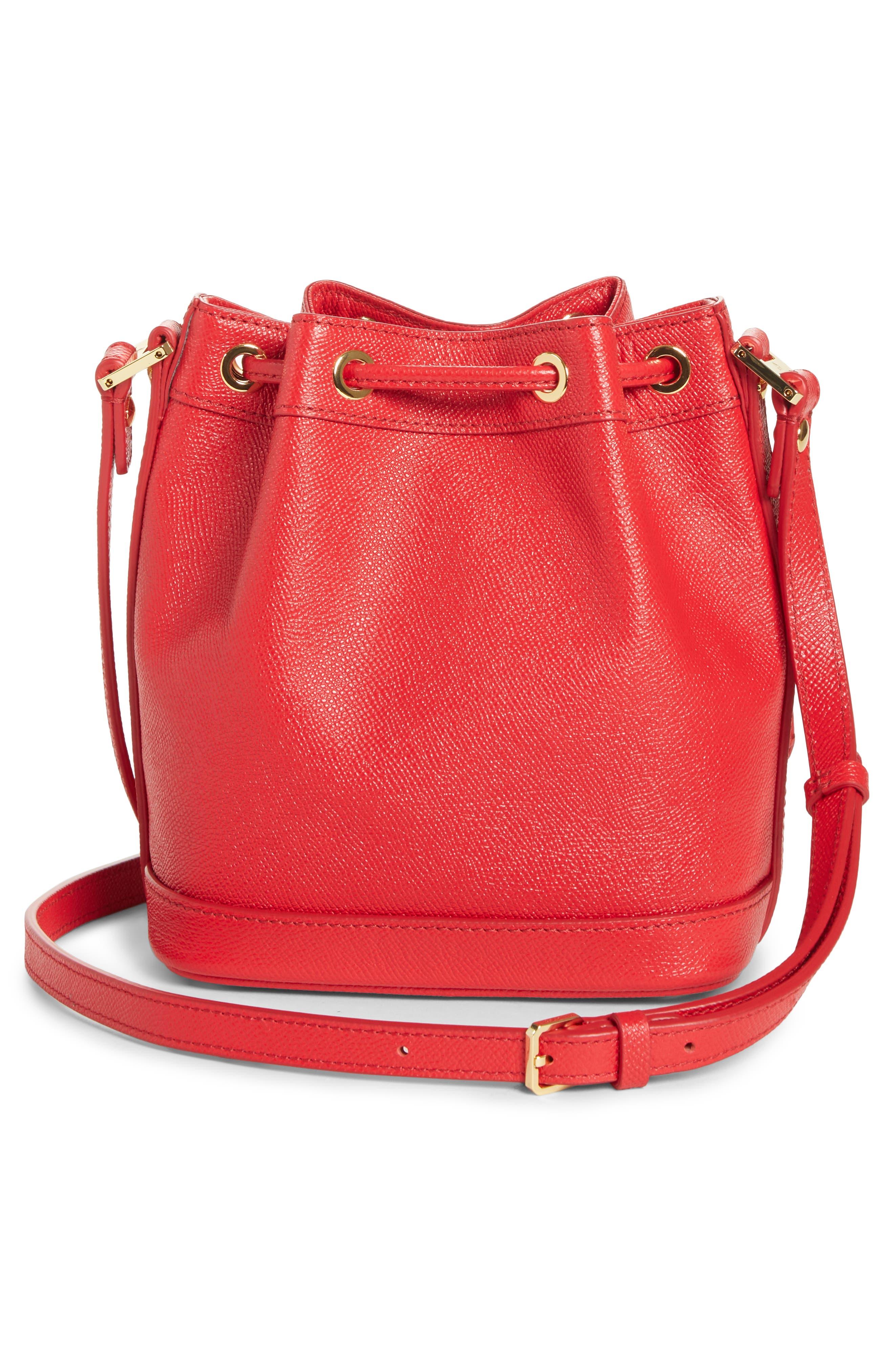 Mini RGB Drawstring Crossbody Bag,                             Alternate thumbnail 3, color,                             RED